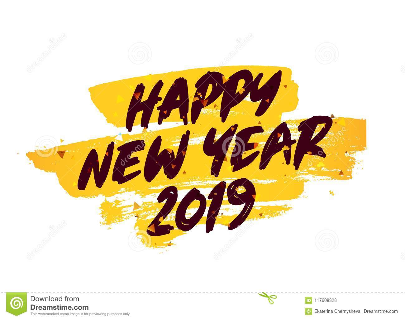 Happy New Year 2019  Lettering Stock Vector - Illustration of