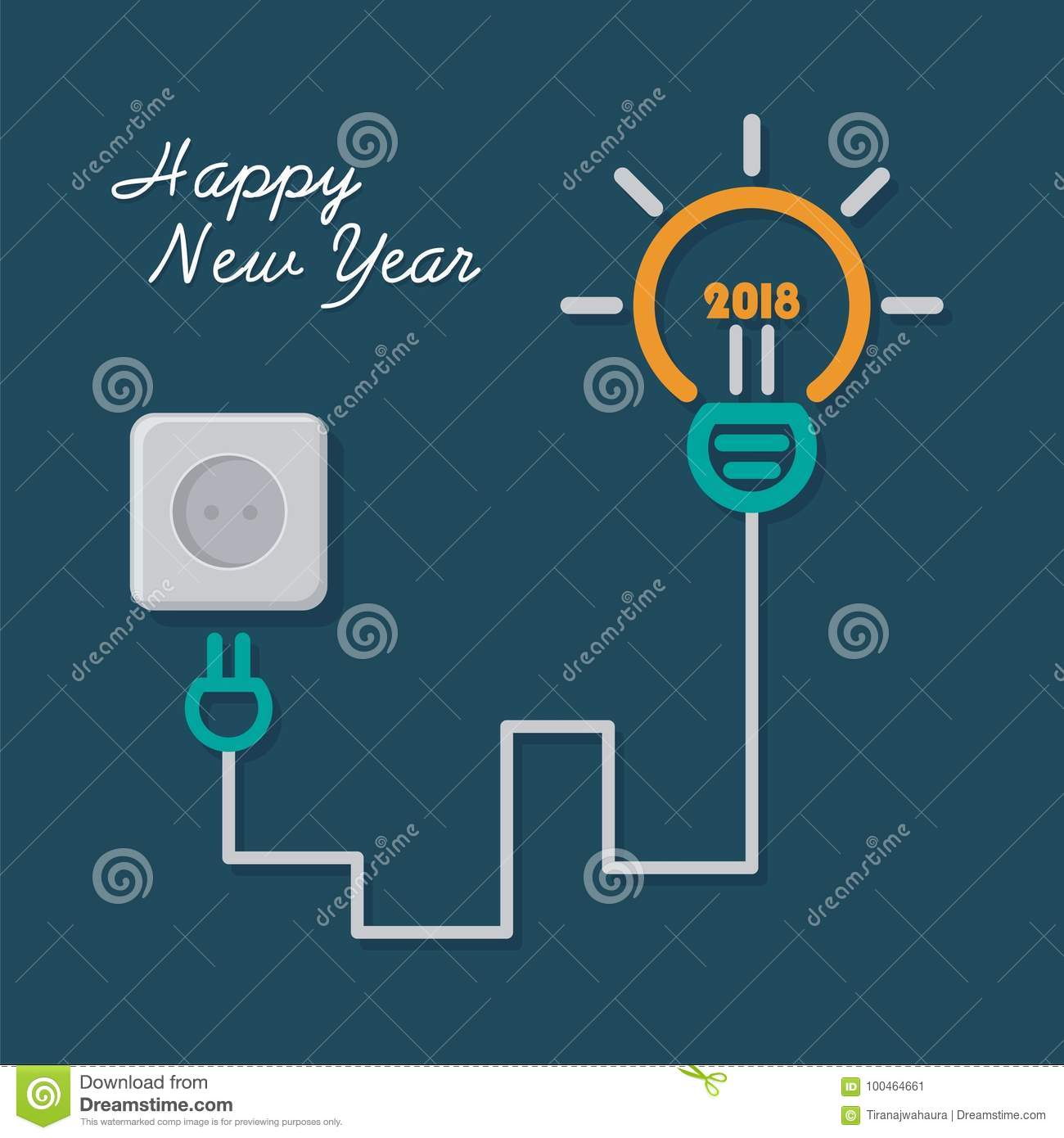 happy new year 2018 with light bulb illustration design