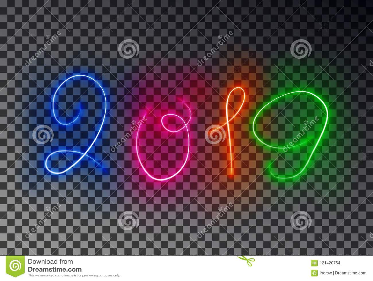 happy 2019 new year light line glowing magic color effect isolated on transparent background