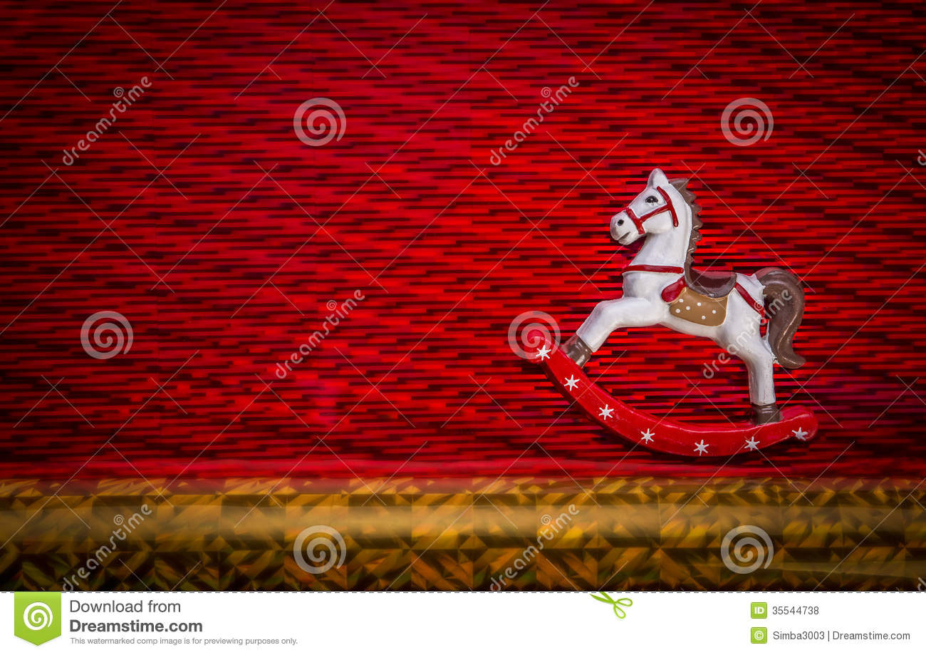 Happy New Year Little Rocking Horse Riding Over Textured