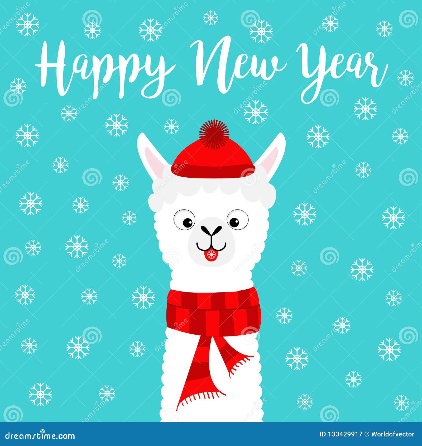 891334d7ac026 Happy New Year. Llama Alpaca Baby Face Neck. Santa Claus Red Hat ...