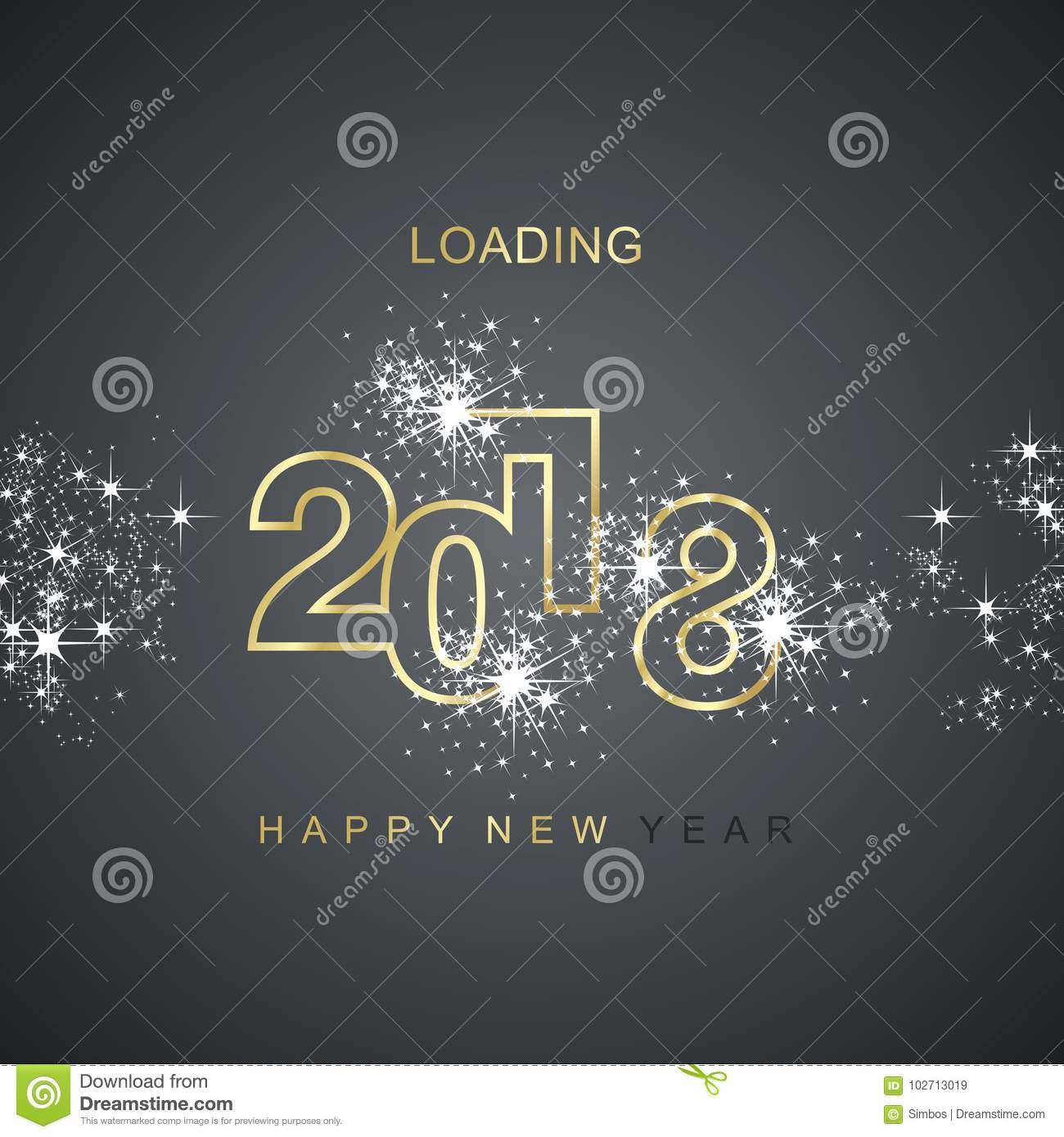 Happy New Year 2018 loading spark firework gold black vector