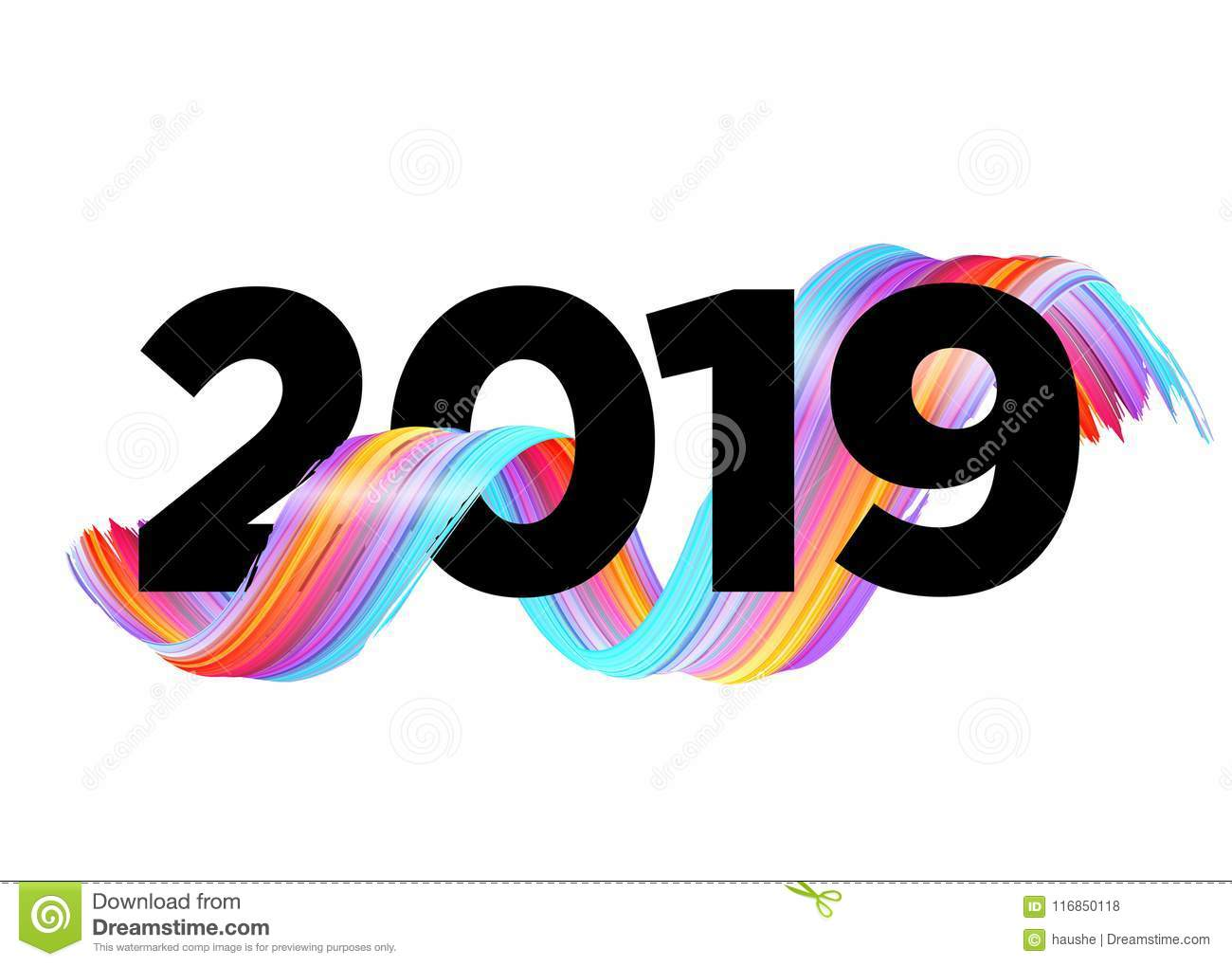 2019 Happy New Year Logo Design Vector Background Stock Vector