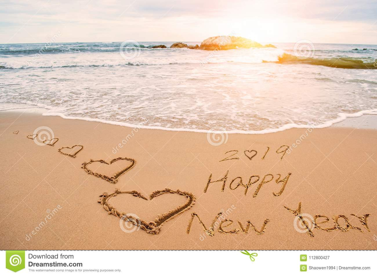 Happy New Year 2019 And Love Heart Stock Image - Image of ...
