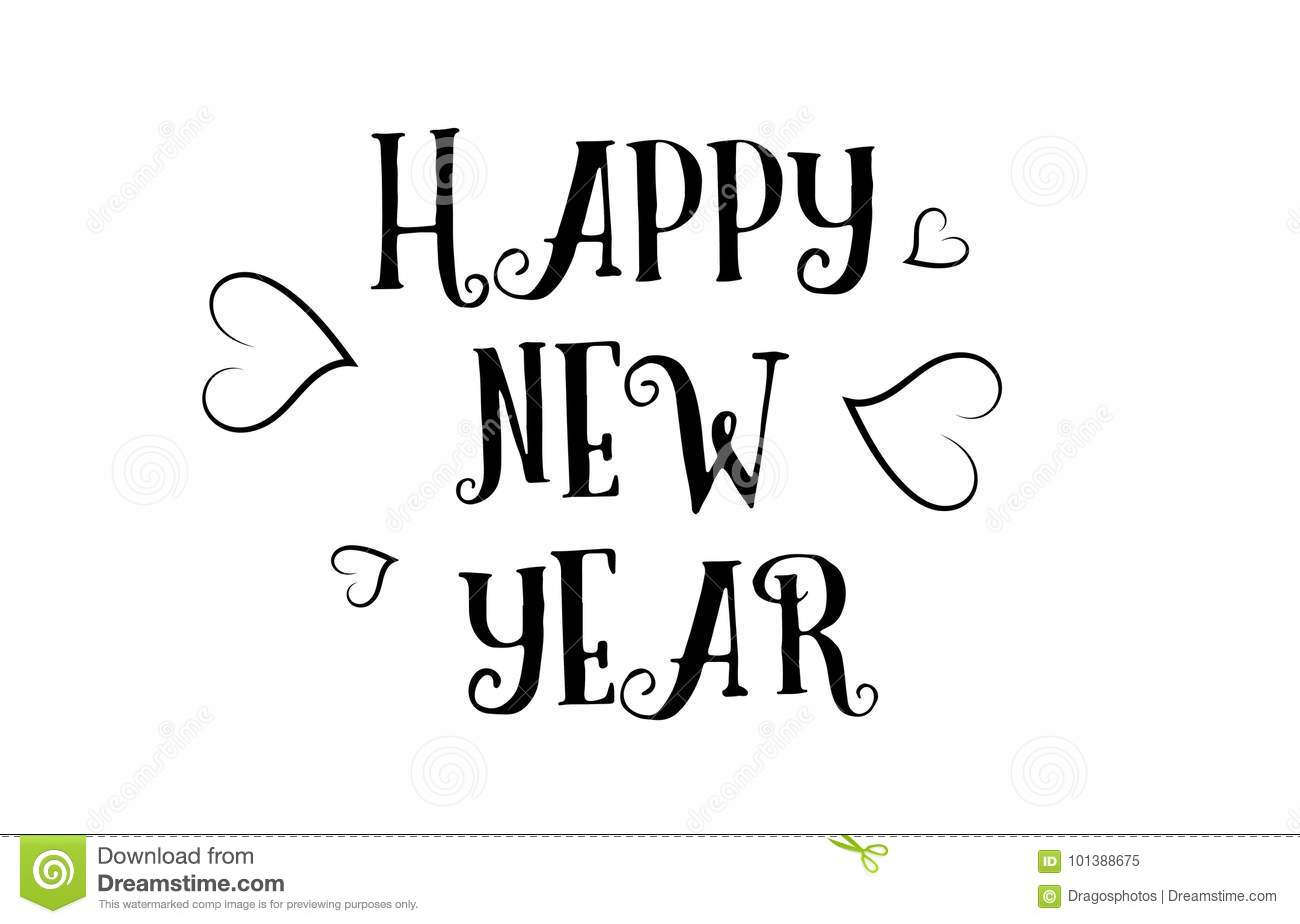 Happy New Year Love Quote Logo Greeting Card Poster Design Stock