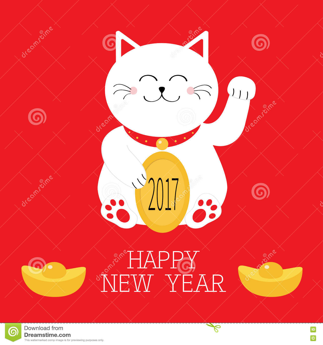 happy new year lucky white cat sitting and holding golden coin 2017 text chinese