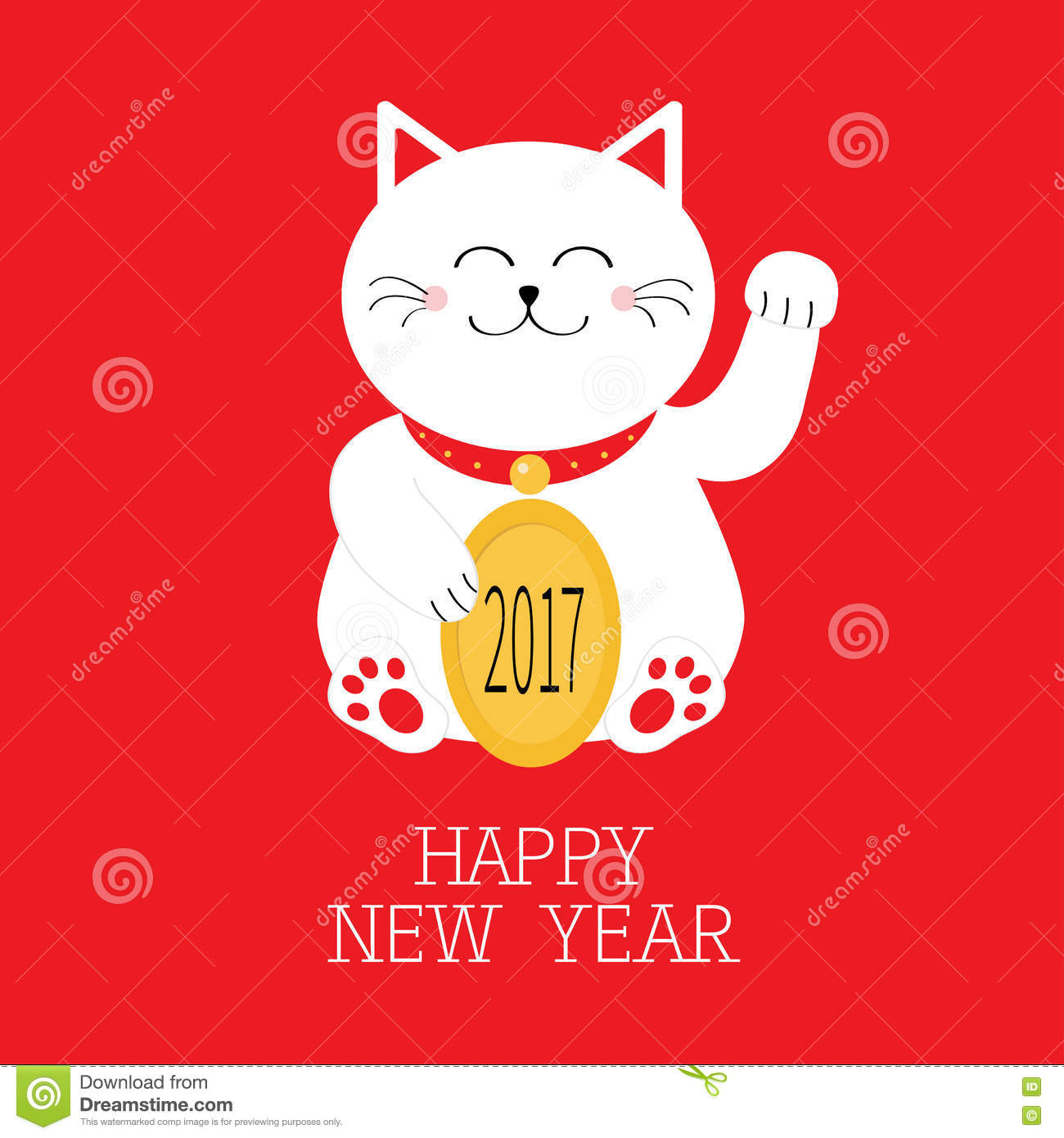 Happy New Year. Lucky White Cat Sitting And Holding Golden Coin ...