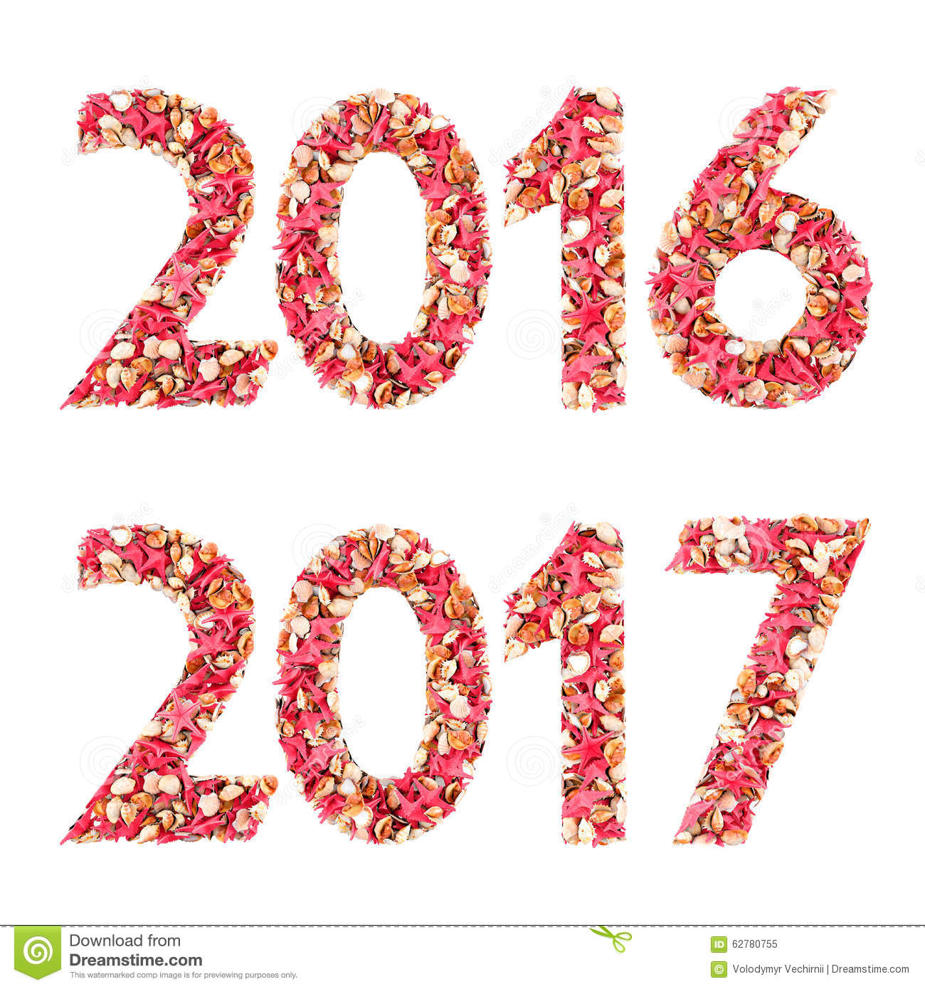Happy new year 2016 made from 3d sea shells. Isolated on a white. With ...