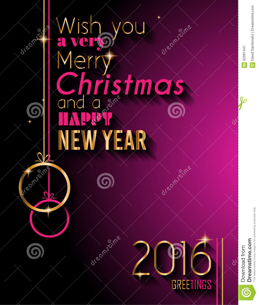 2016 Happy New Year And Merry Christmas Background For Your Seasonal