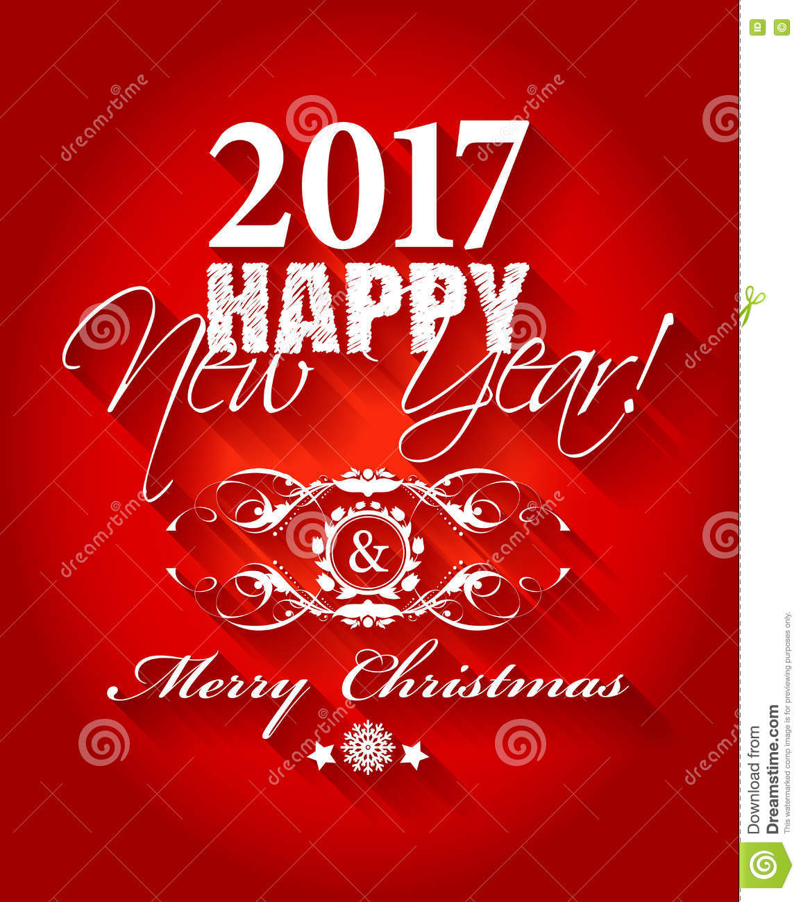 2017 happy new year and merry christmas card or background stock