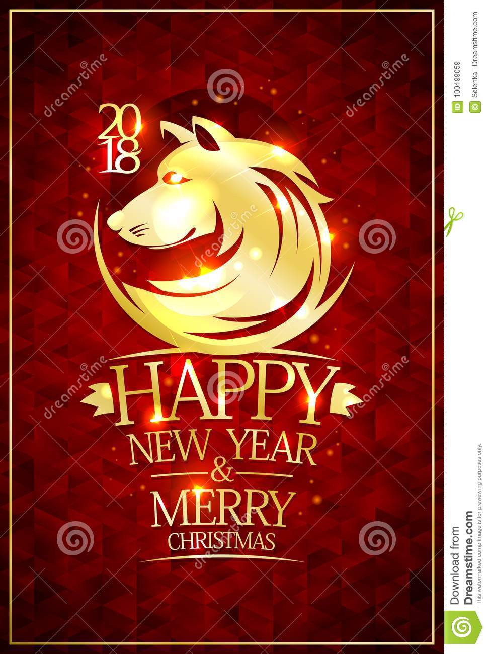 2018 Happy New Year And Merry Christmas Card Stock Vector