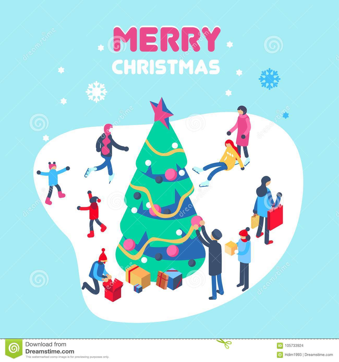download happy new year and merry christmas card with winter outdoor leisure activities isometric vector - Christmas Eve Activities