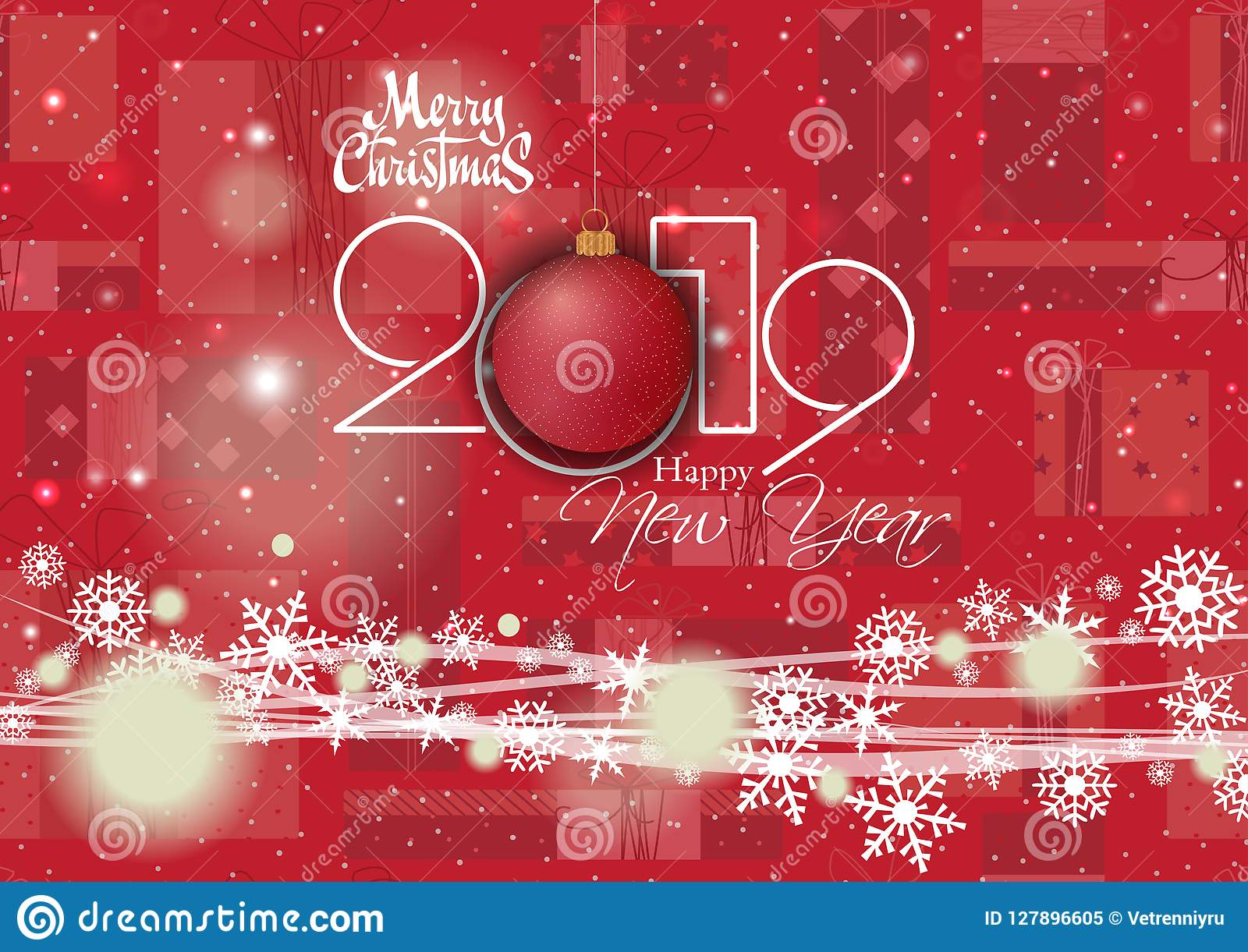 Happy New Year 2019 And Merry Christmas Card For Your Design