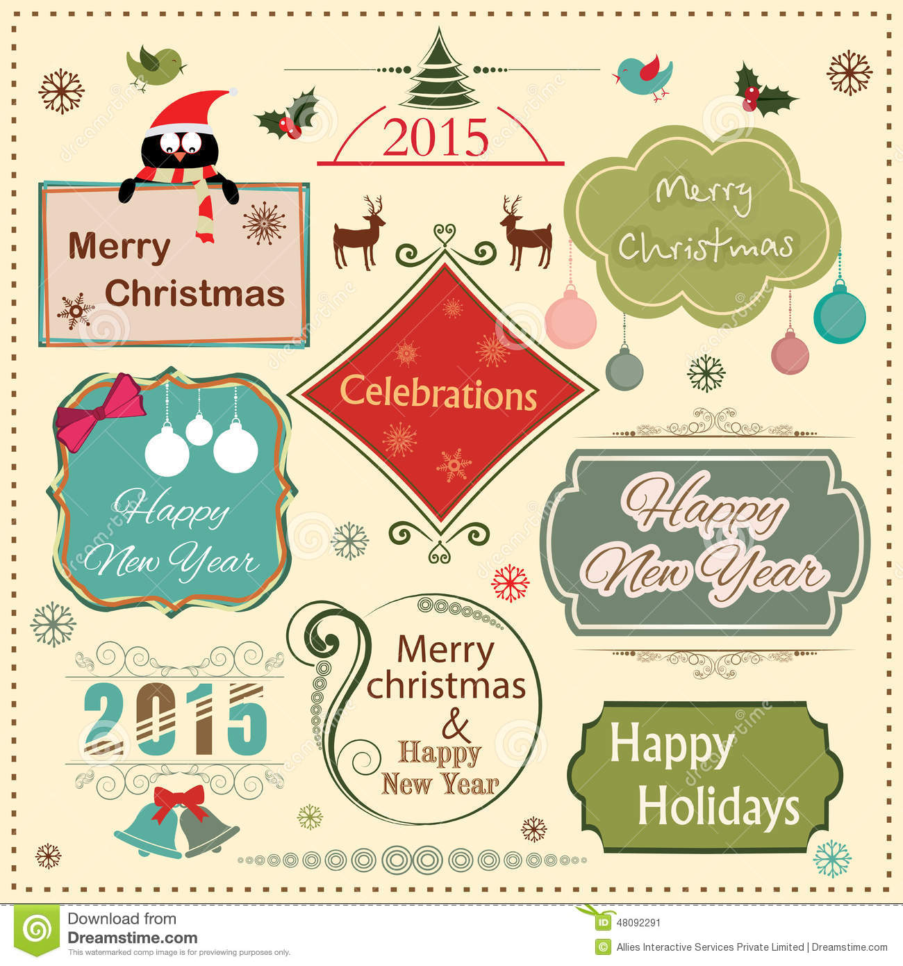 happy new year 2015 and merry christmas celebration