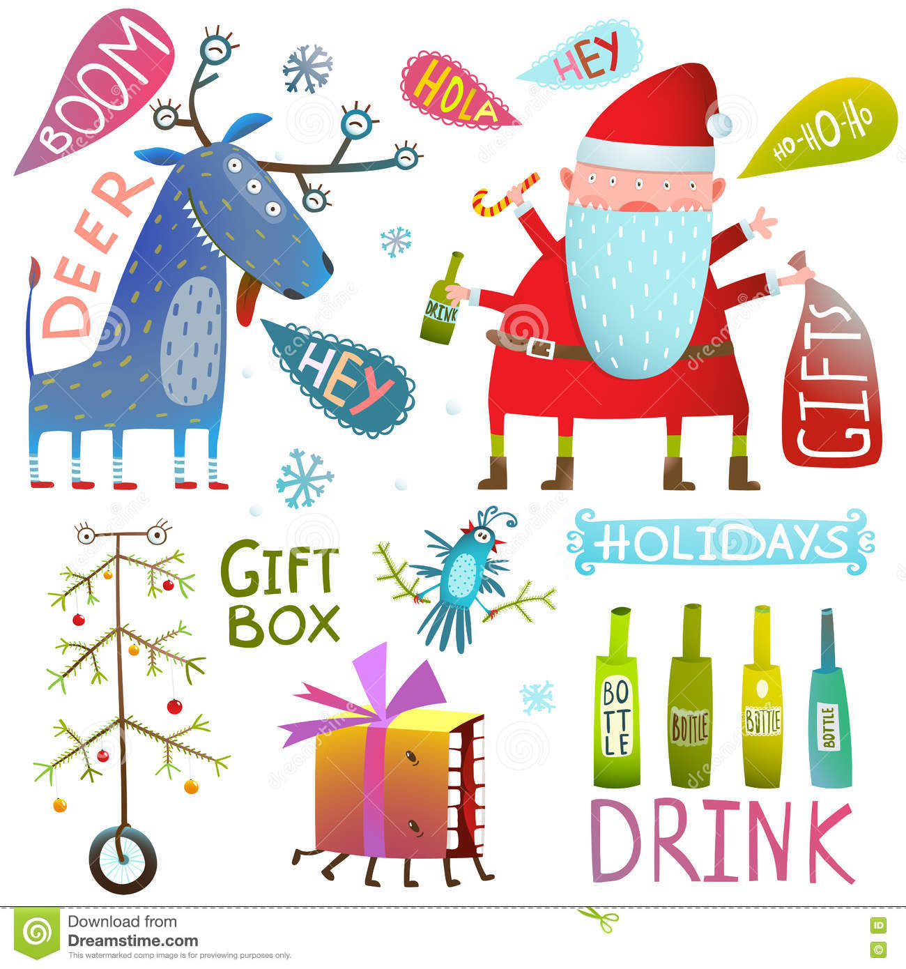 Happy New Year Merry Christmas Clip Art Collection With Deer Santa ...