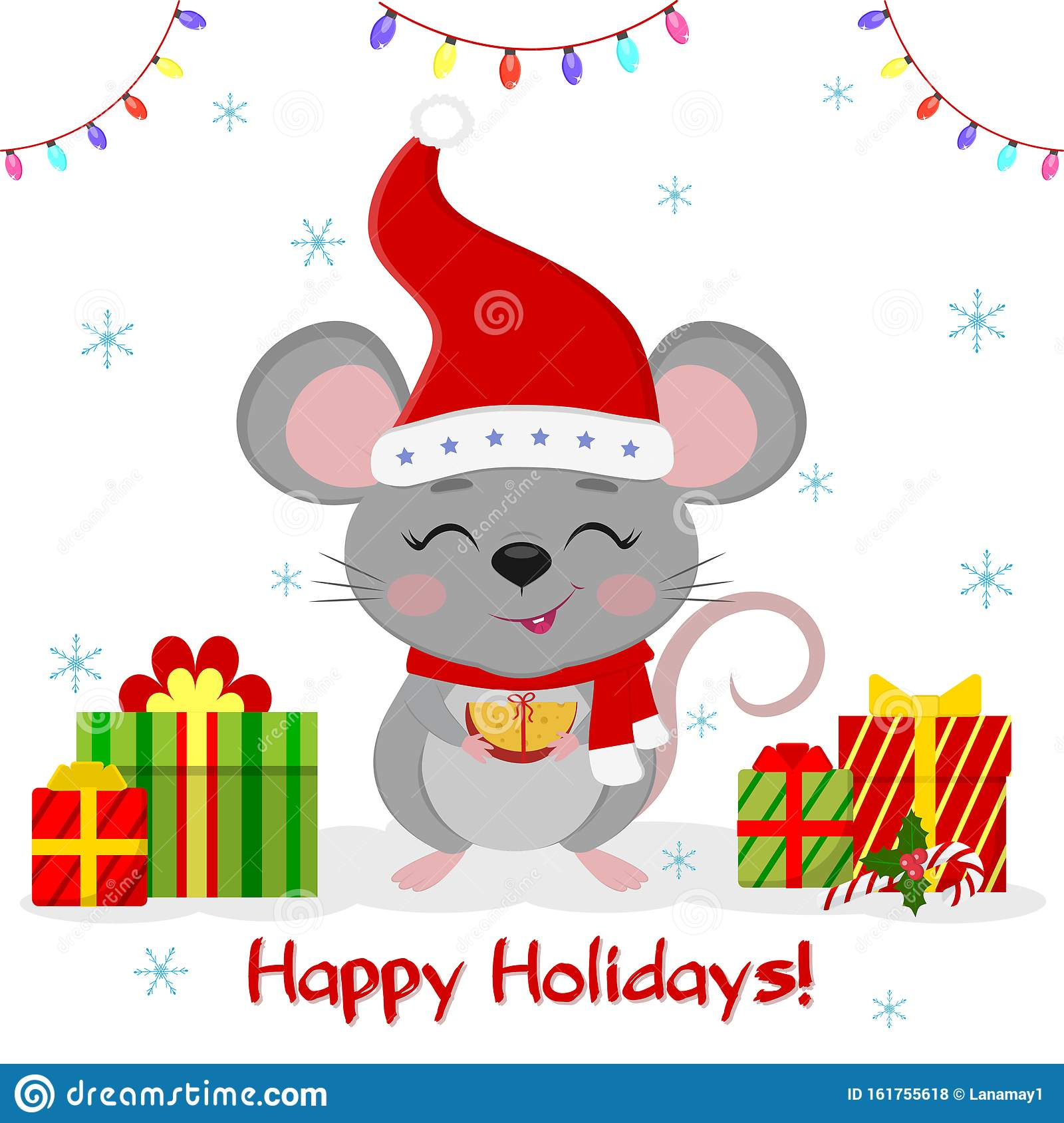 Happy New Year And Merry Christmas. Cute Mouse, Rat With ...