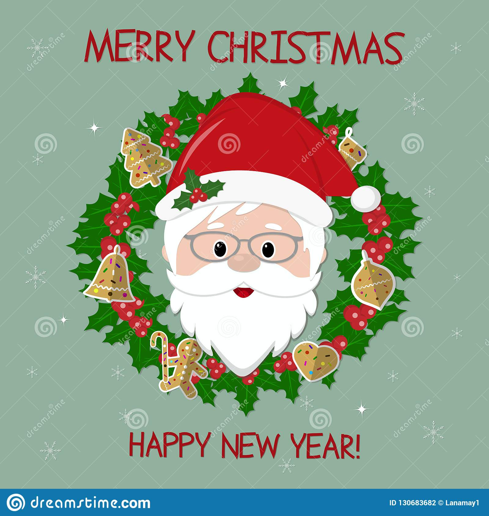 Happy New Year And Merry Christmas Cute Santa Claus And Holly