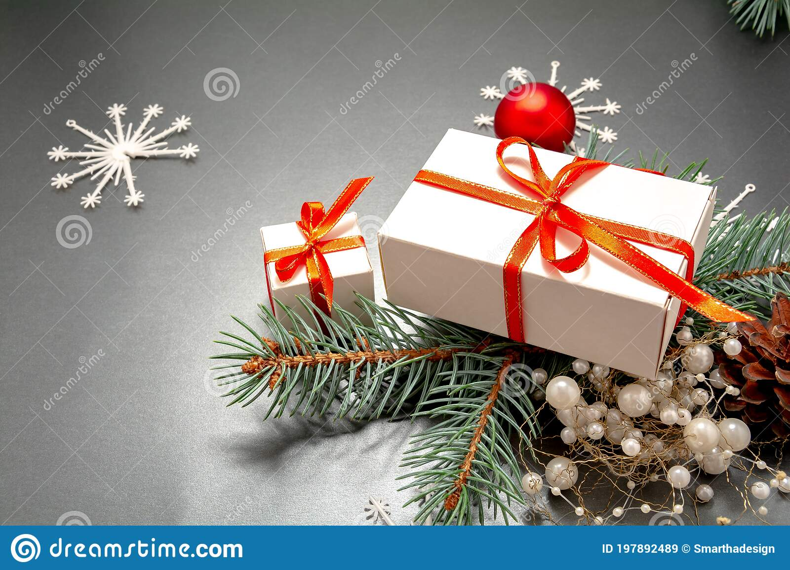 Christmas Ribbon 2021 2021 Happy New Year Merry Christmas Decorations Flatlay Gift Boxes Ribbon Balls Spruce Branch Snowflakes Top View Stock Image Image Of Banner Holiday 197892489