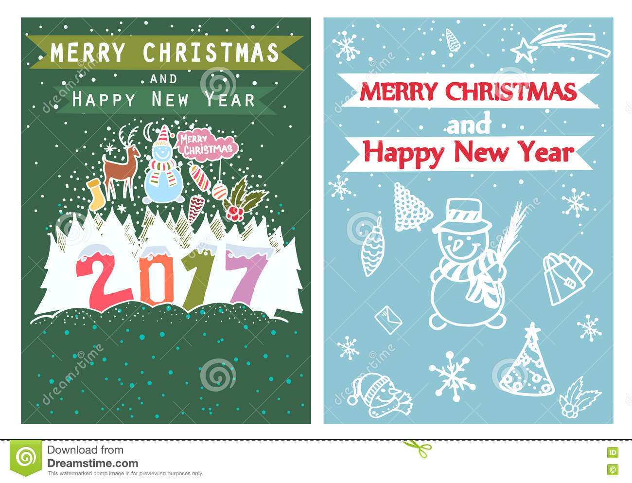 happy new year merry christmas family holidays greeting card templates artistic collection with