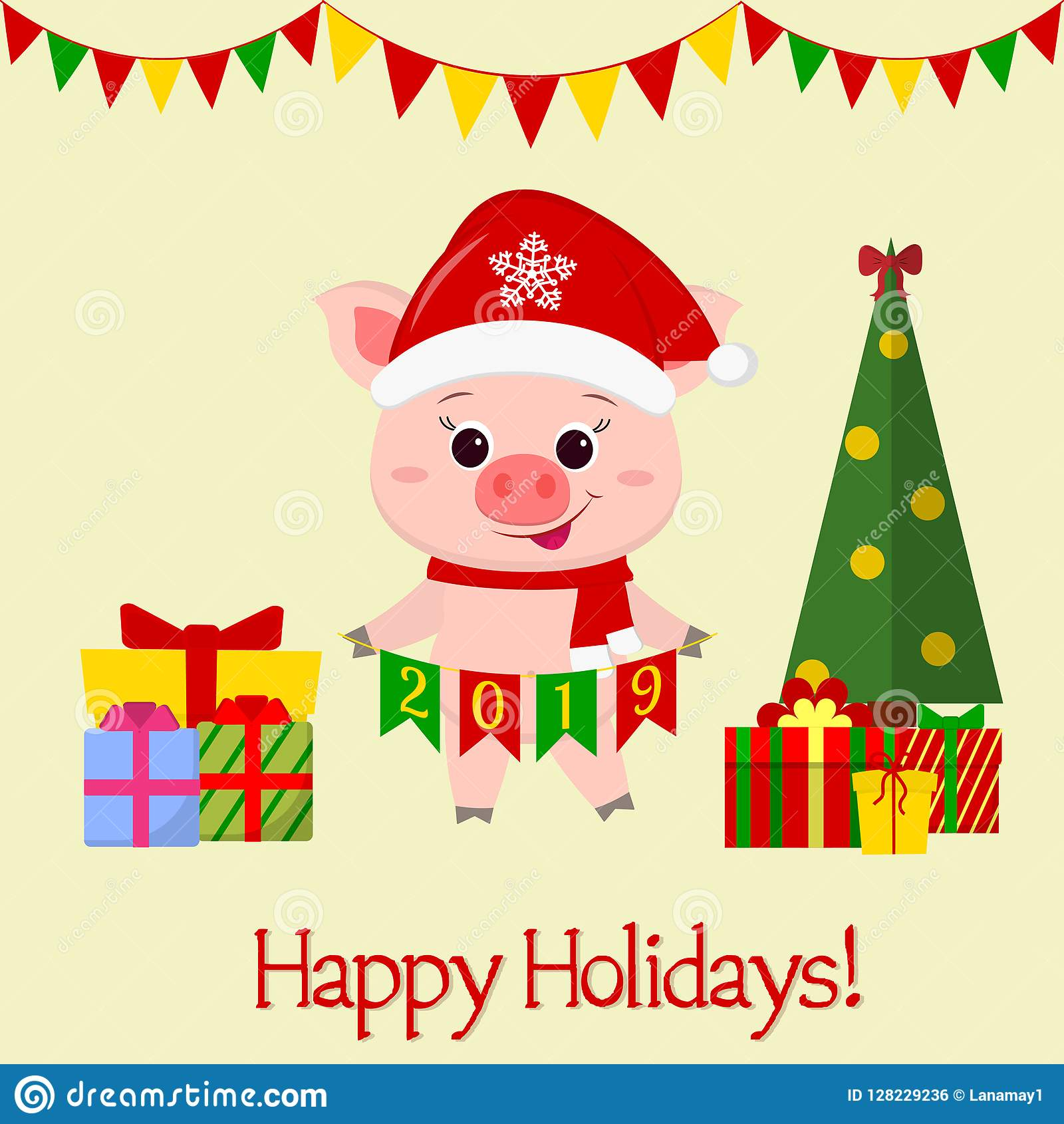 Happy New Year And Merry Christmas Greeting Card. A Cute ...