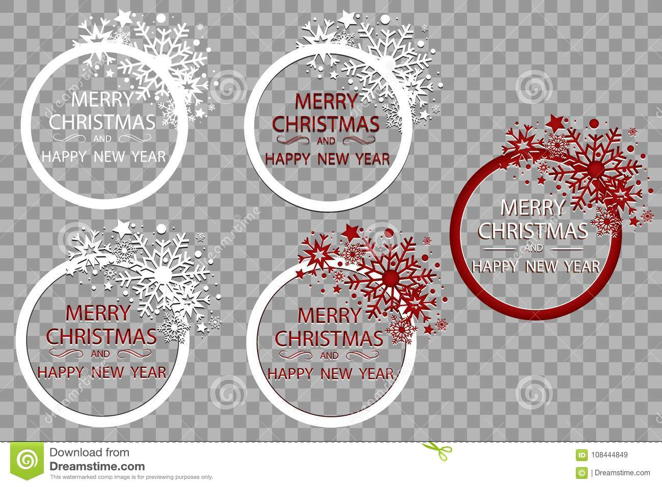 Happy New Year Merry Christmas Greeting Card Golden ...