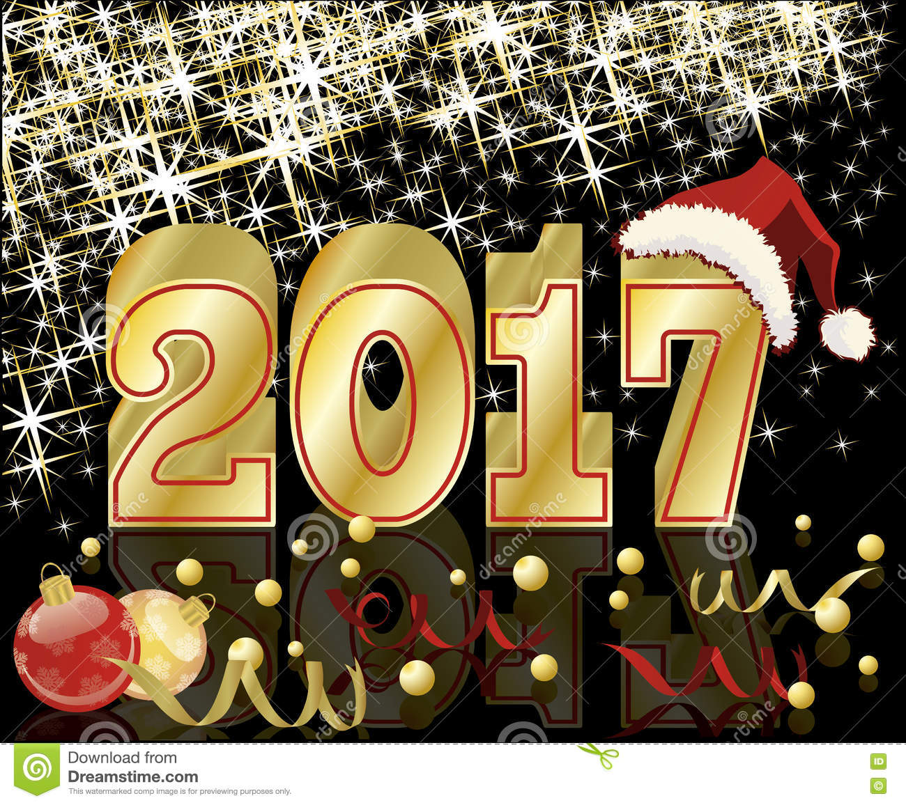Happy New Year And Merry Christmas 2017 Greeting Card Vector Stock
