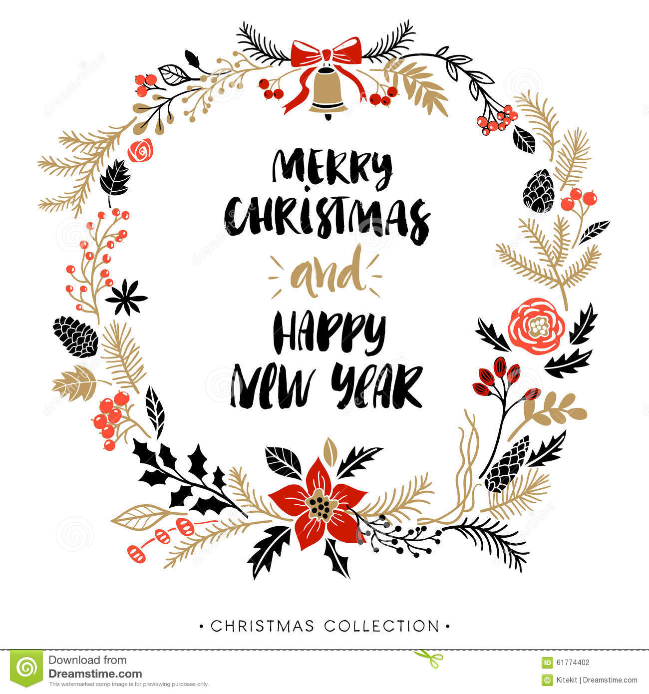 happy new year and merry christmas greeting wreath with calligraphy stock vector illustration of celebration bright 61774402 dreamstime com