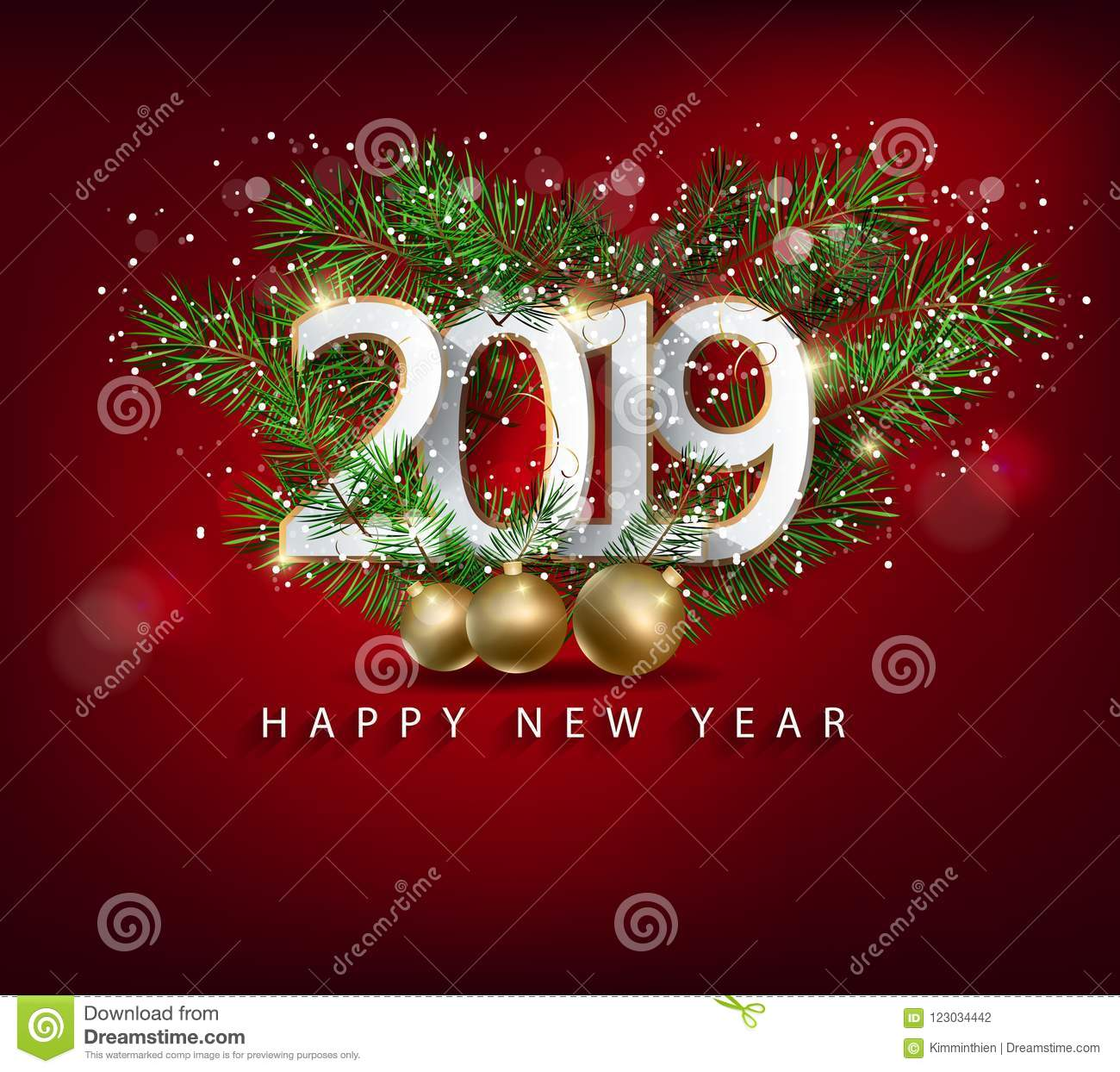 Merry Christmas Images 2019.Happy New Year 2019 And Merry Christmas Stock Vector