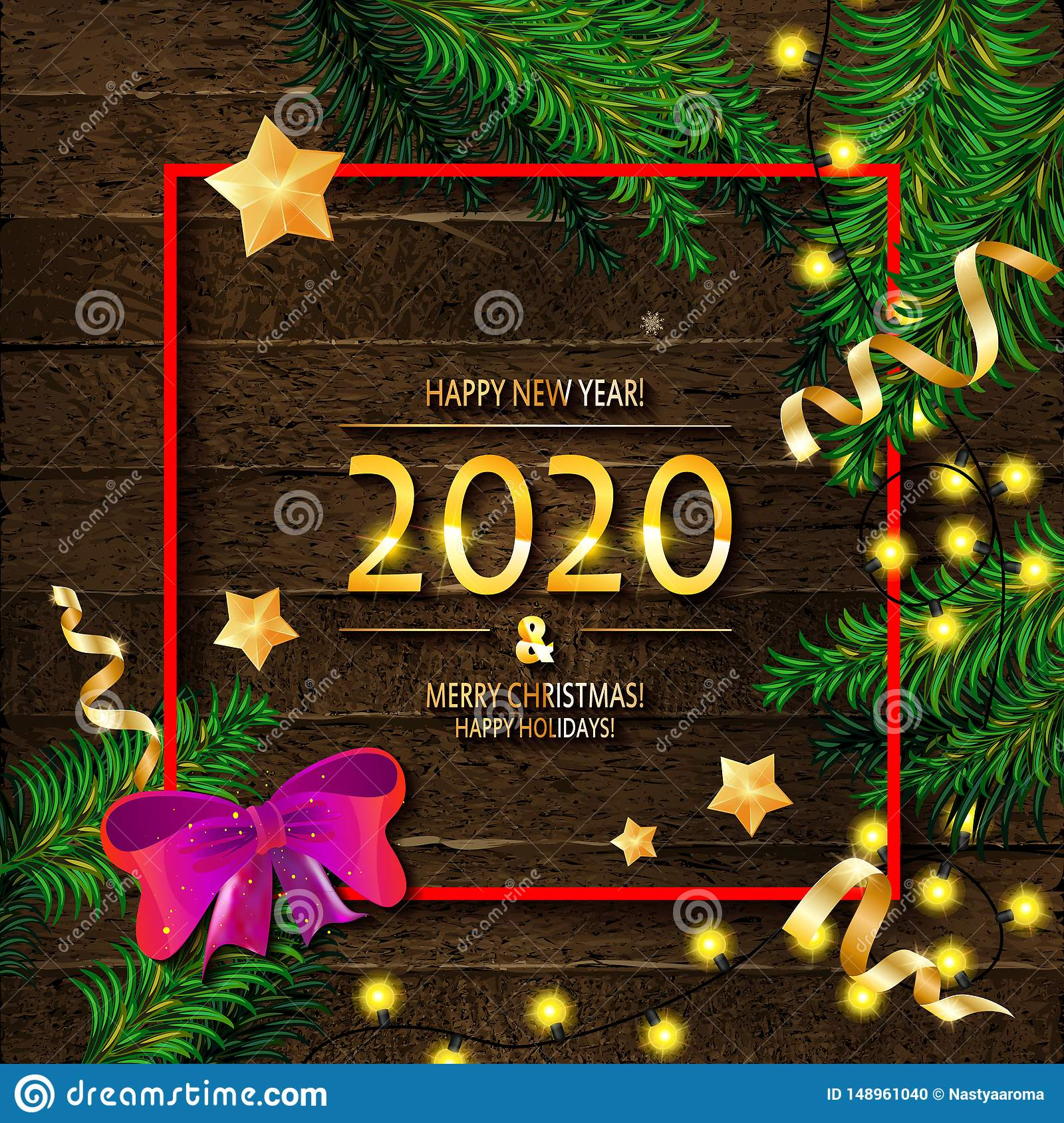 Merry Christmas Images 2020.2020 Happy New Year And Merry Christmas Stock Illustration