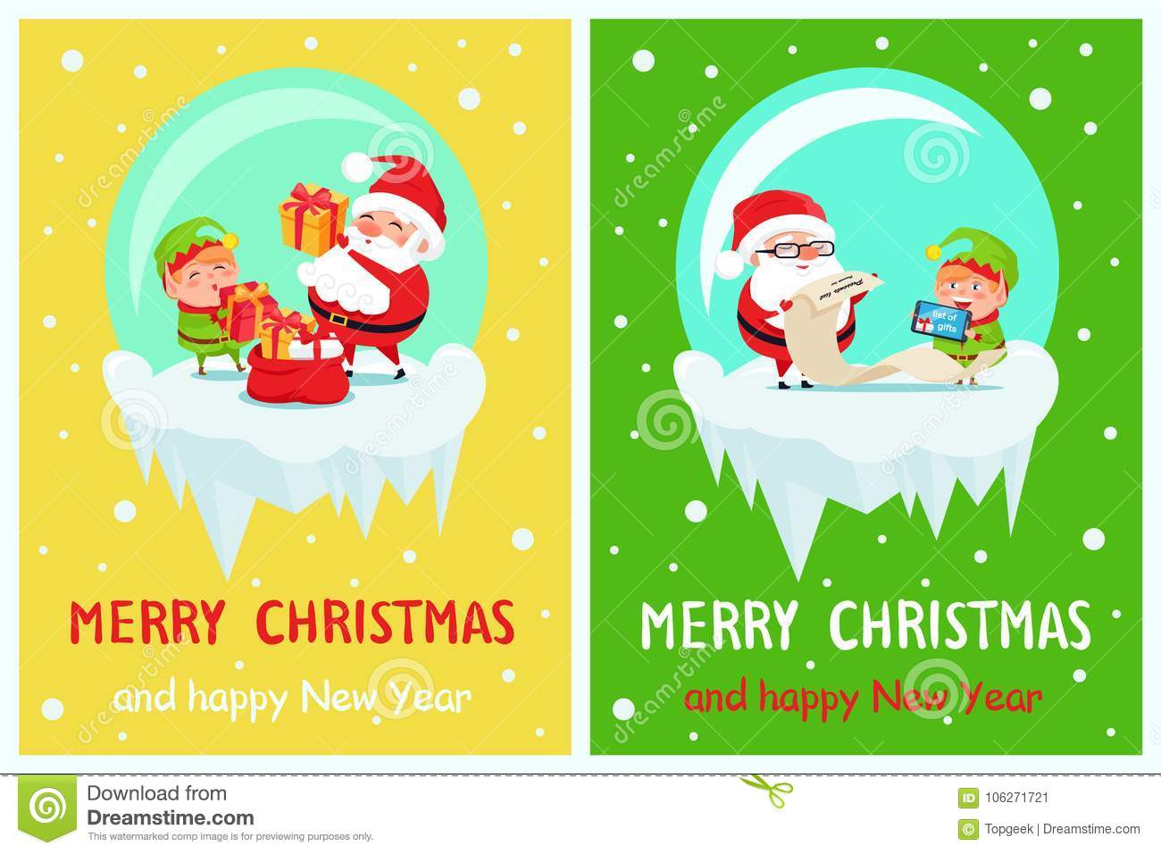 Christmas Posters.Happy New Year Merry Christmas Poster Santa Elf Stock Vector