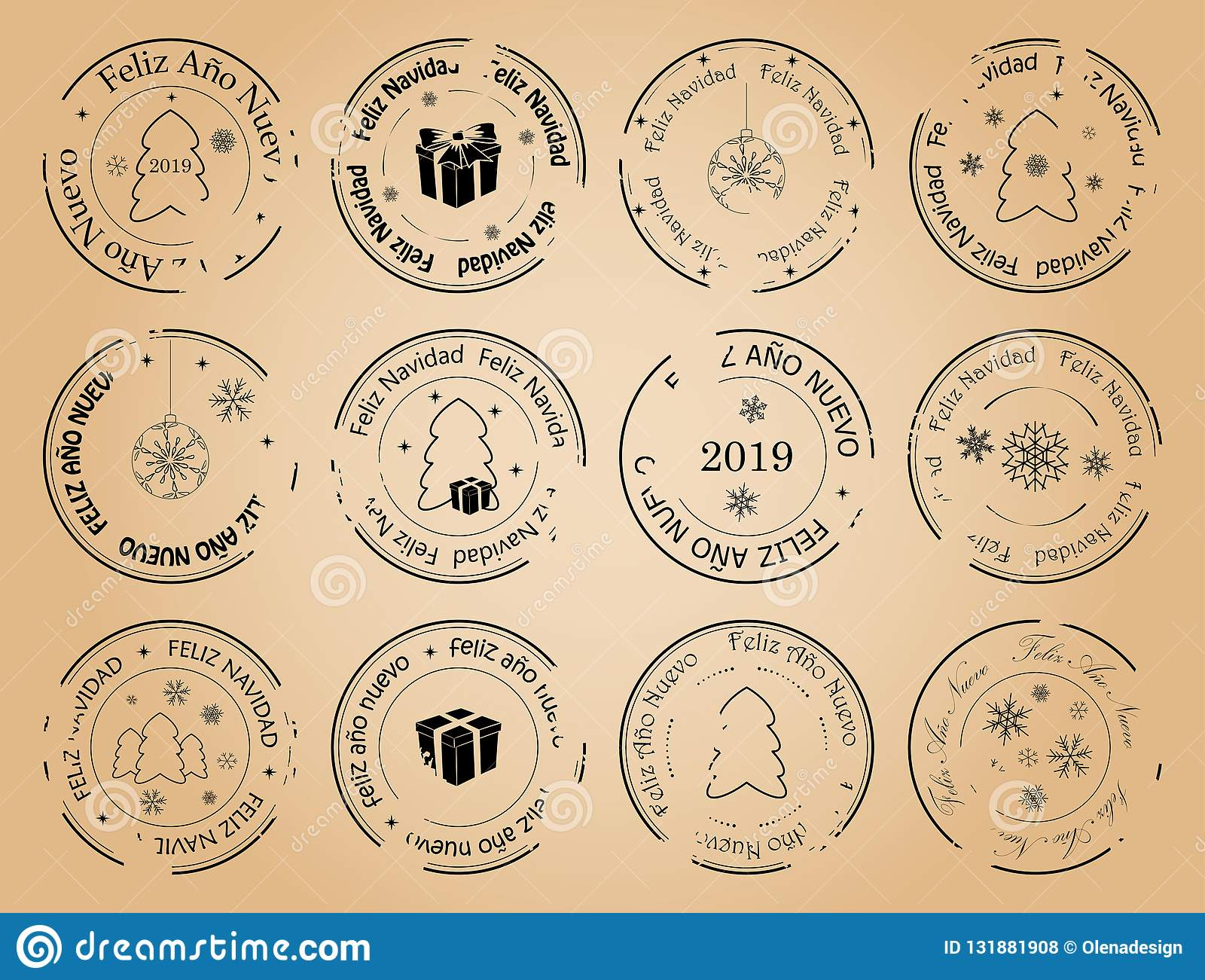 2019 Christmas Stamps.Happy New Year And Merry Christmas Vintage Vector Postage