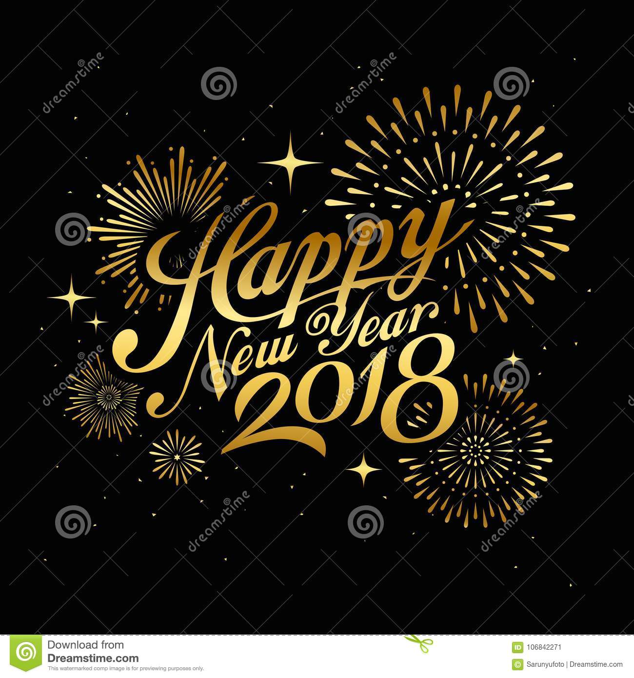 happy new year 2018 message with firework gold at night