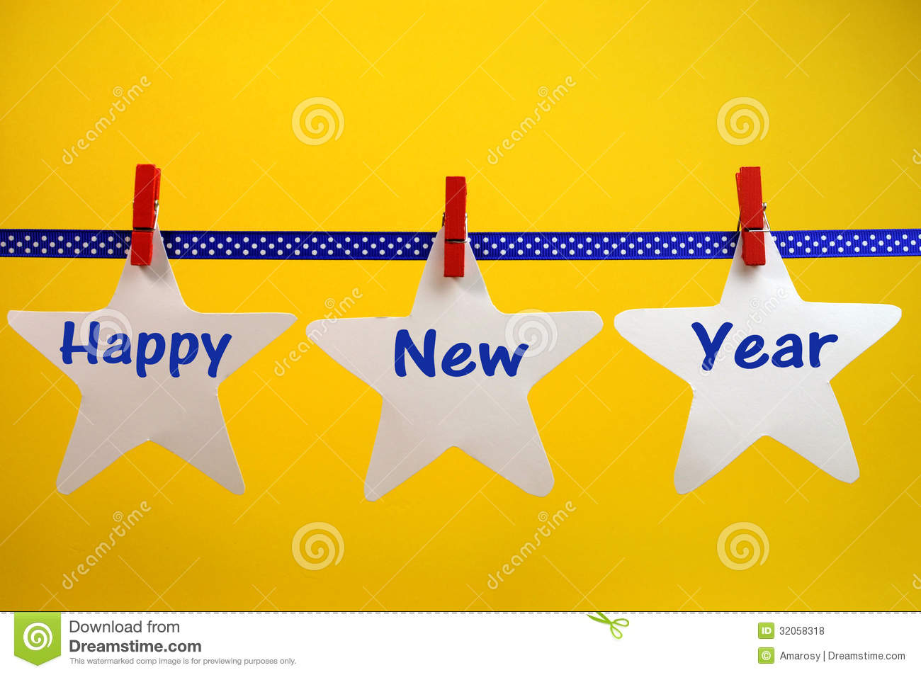 Happy New Year Message Greeting Written Across White Stars And Red