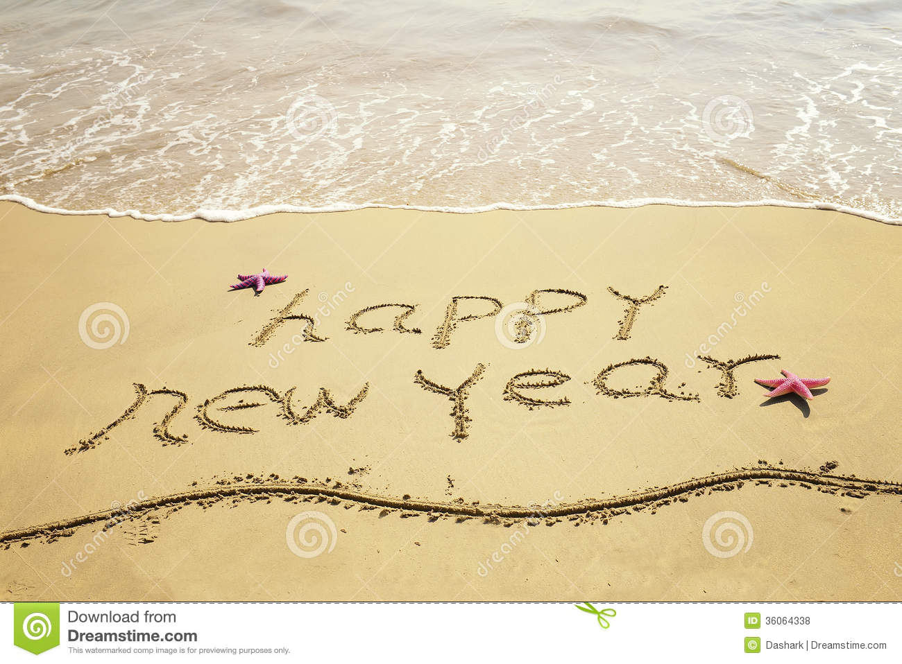 Happy New Year Message On Sand Stock Photo - Image of landscape ...