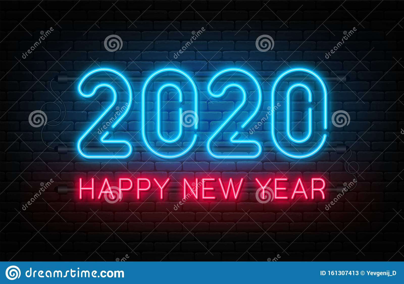 Happy New Year 2020. Neon Sign, Glowing Text For New Year ...