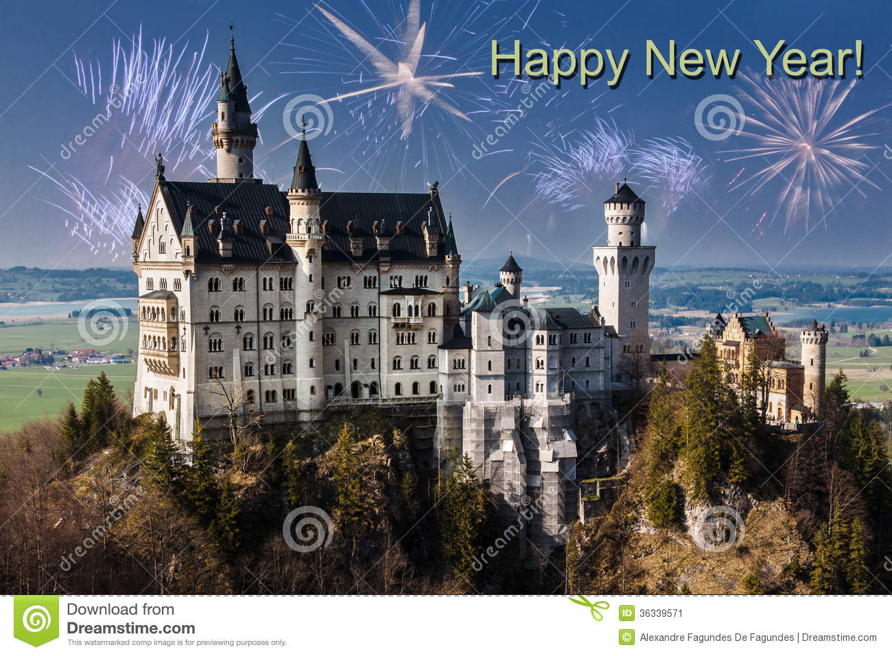 happy new year neuschwanstein castle stock image image 36339571. Black Bedroom Furniture Sets. Home Design Ideas