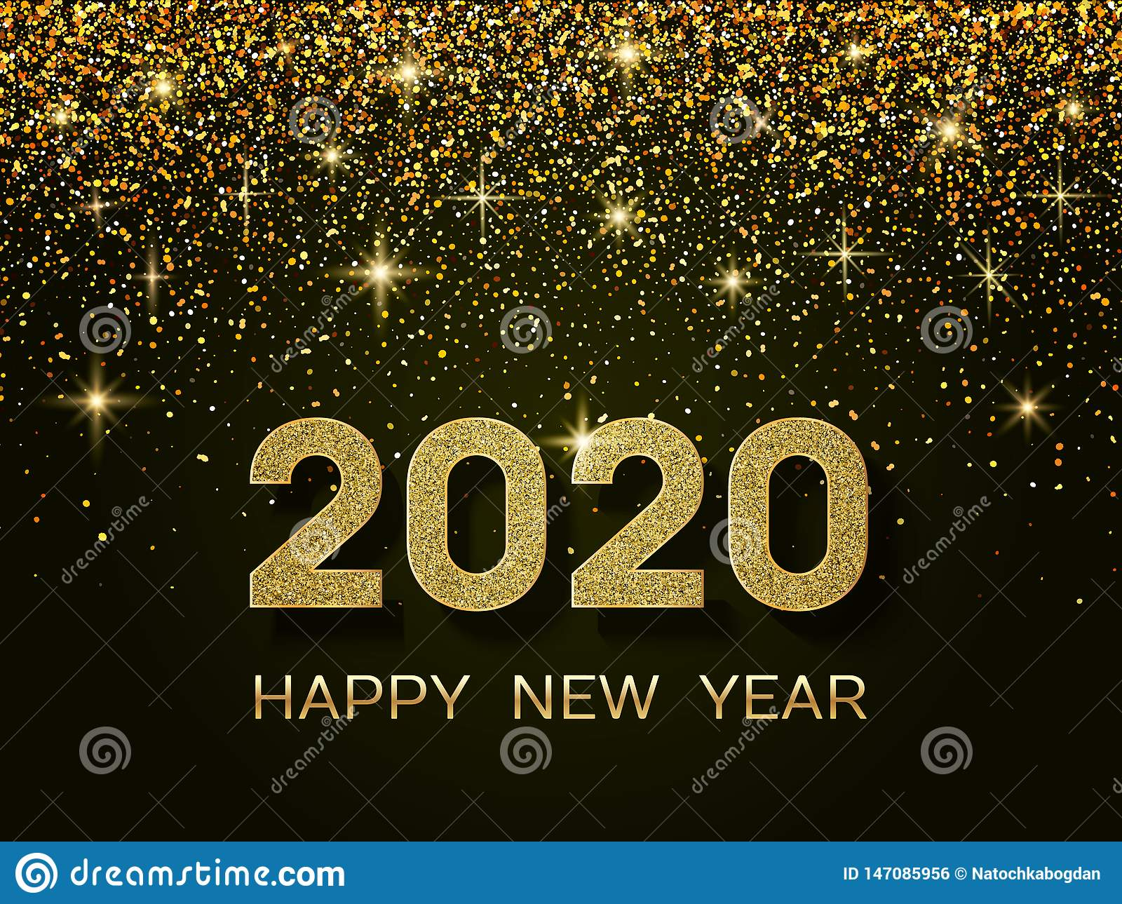 Happy New Year 2020 Glitter 2020 Happy New Year. New Year 2020 Greeting Card. Background With
