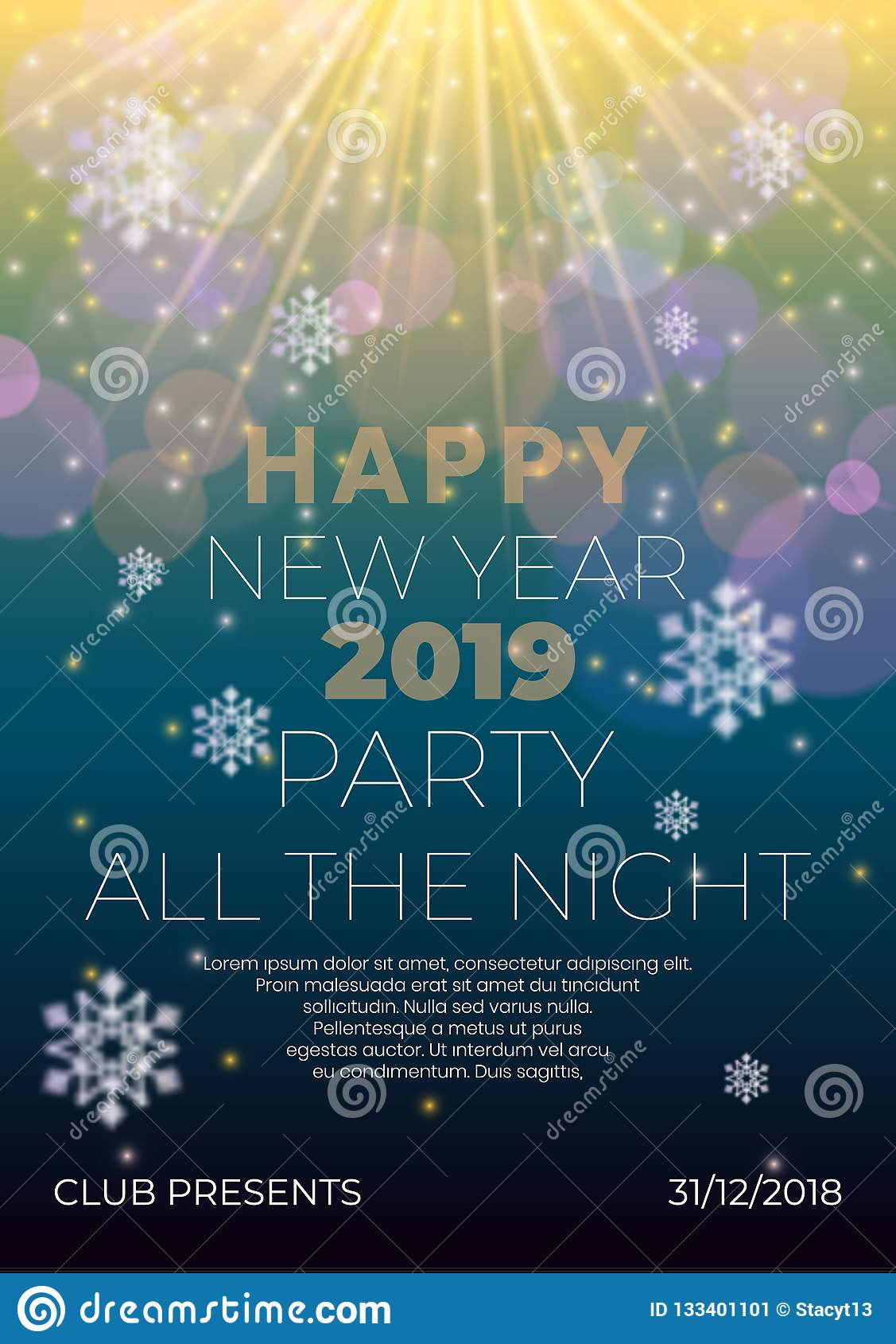 Happy New Year Night Flyer Banner Concept With Glowing Stars,light