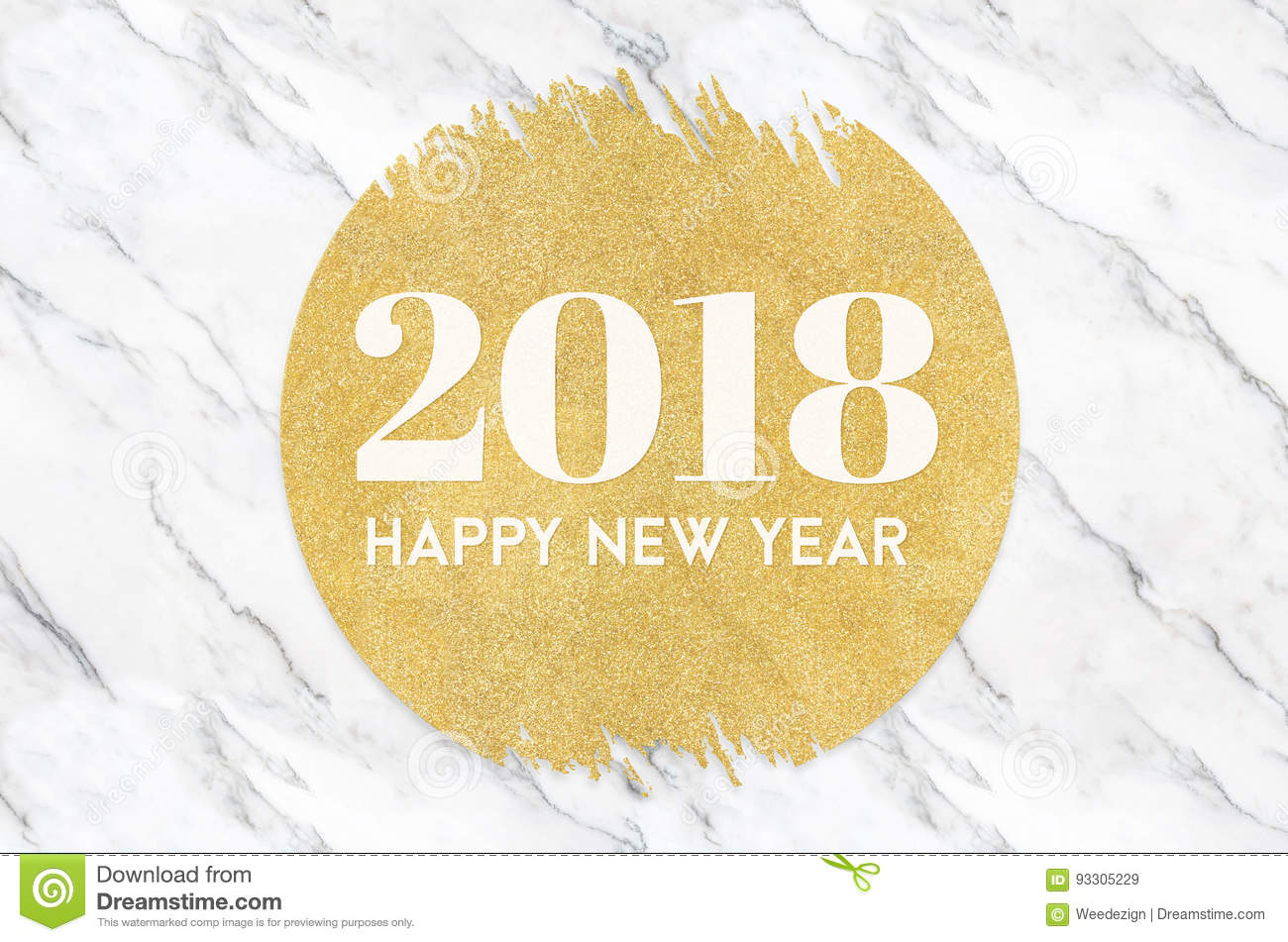 Happy new year 2018 number on gold circle glitter on white marbl