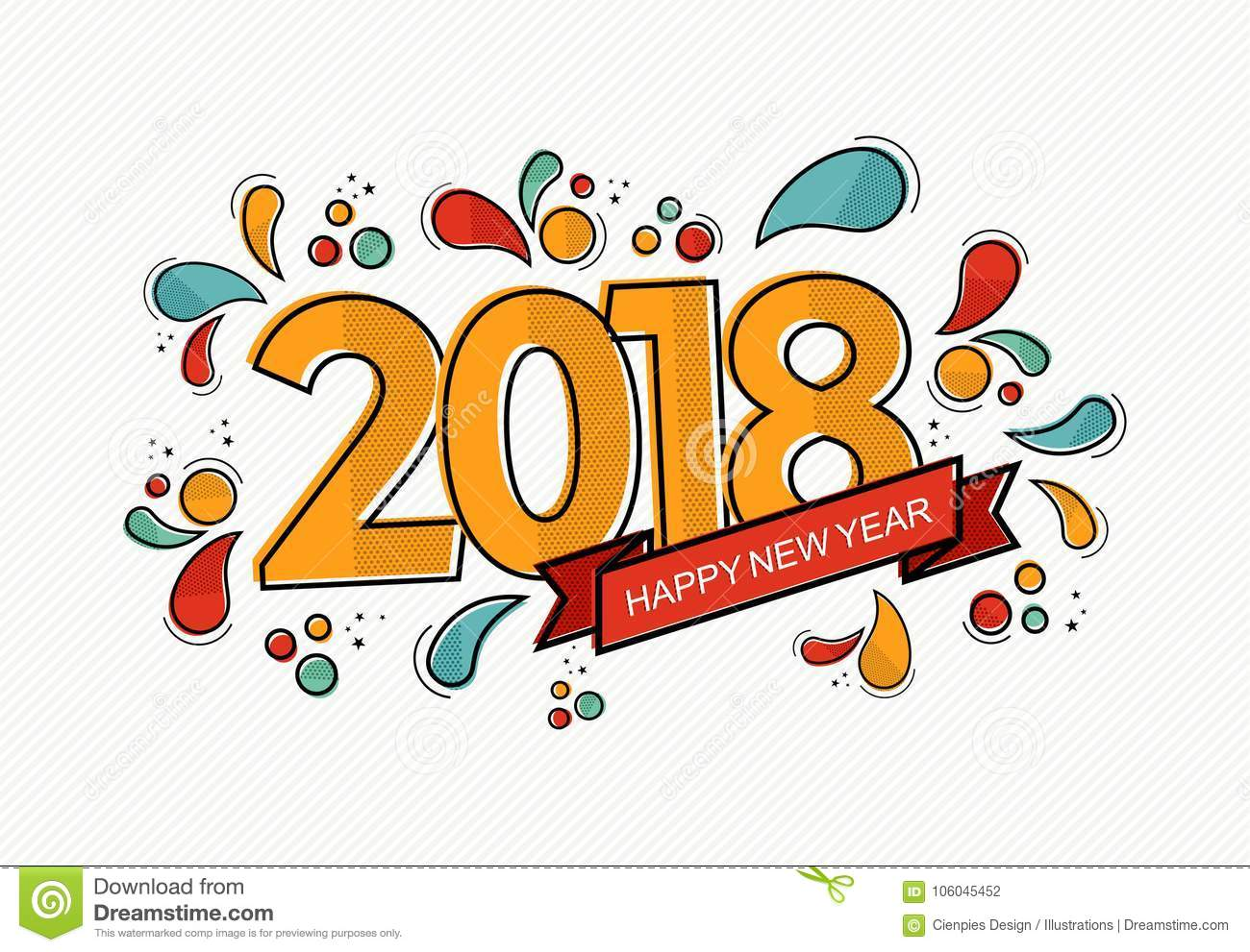 happy new year 2018 modern color line art card