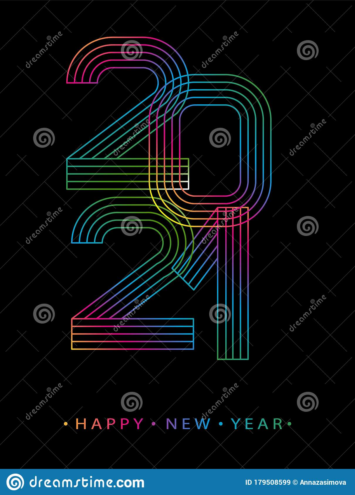 2021 Happy New Year. Numbers Minimalist Style. Vector ...