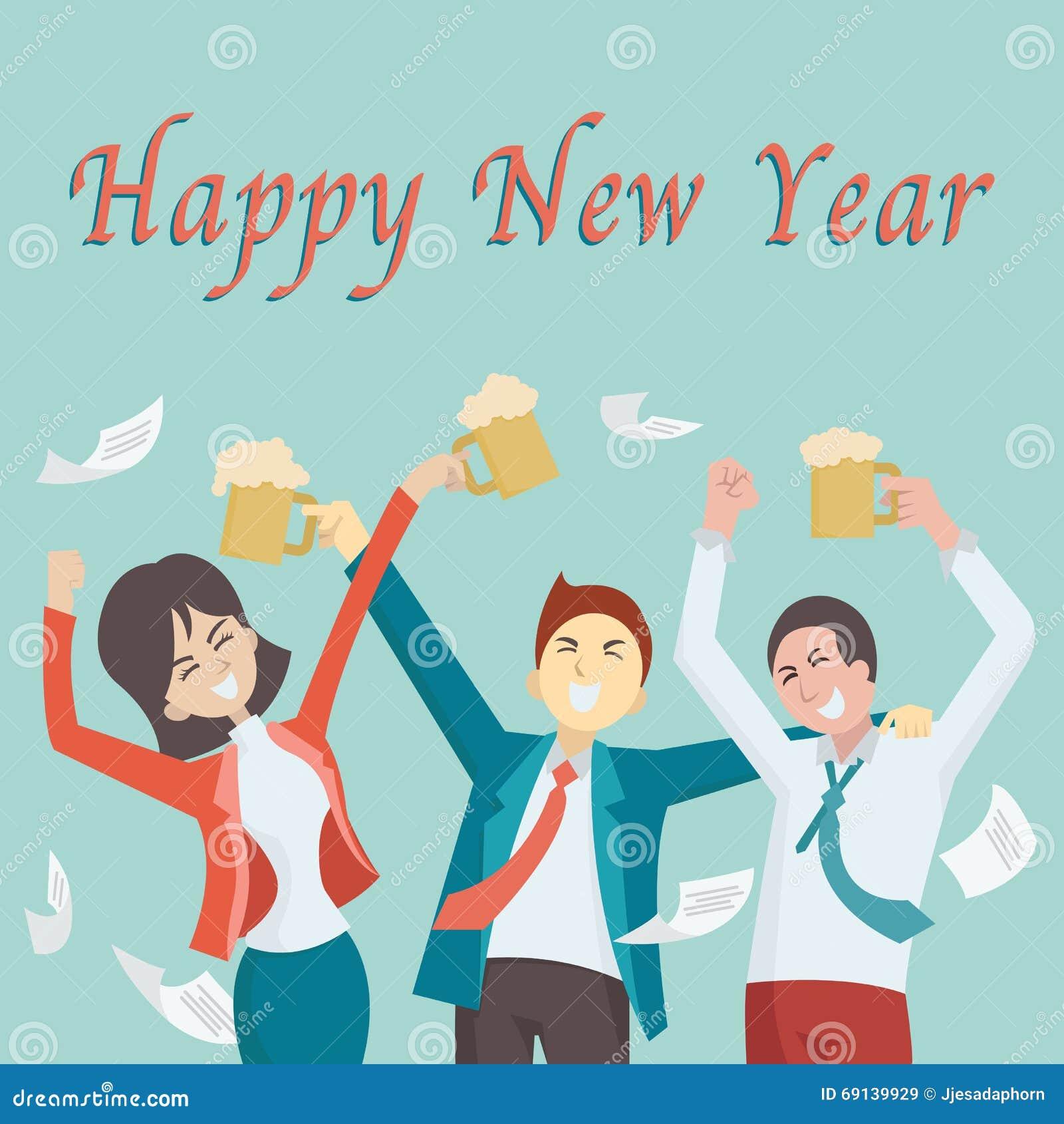 Happy New Year Office Stock Vector. Illustration Of Enjoy