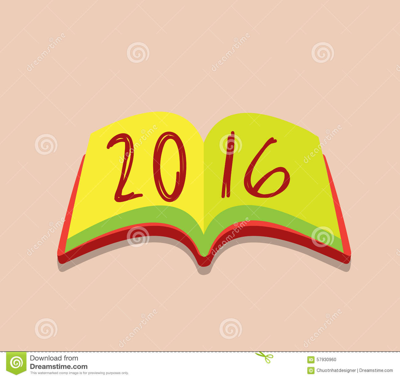 Happy New Year 2016 Open The Book Stock Vector - Image: 57930960