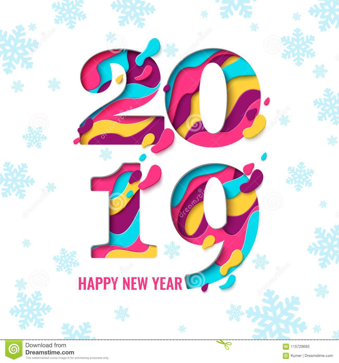 2019 Happy New Year Paper Cut Banner Stock Vector Illustration Of