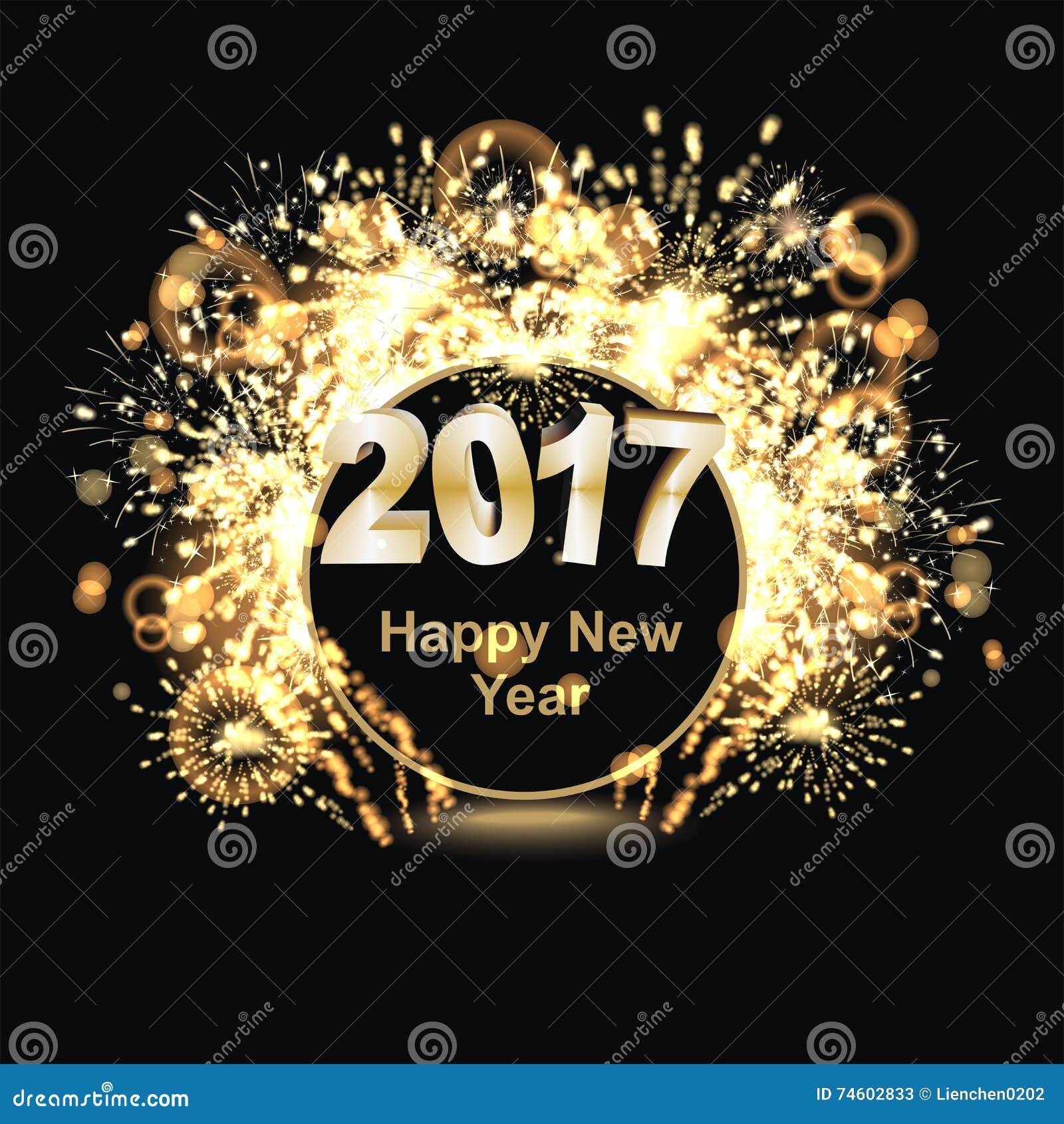 Happy New Year 2017 stock illustration. Image of golden ...
