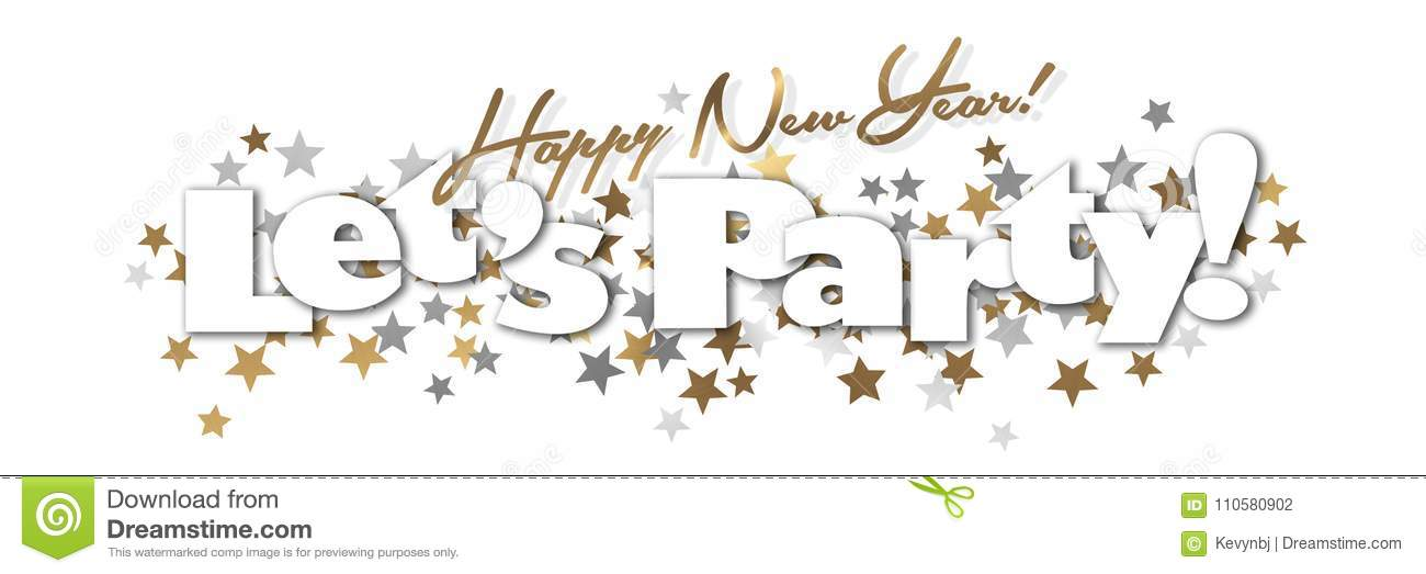 happy new year party banner gold and silver