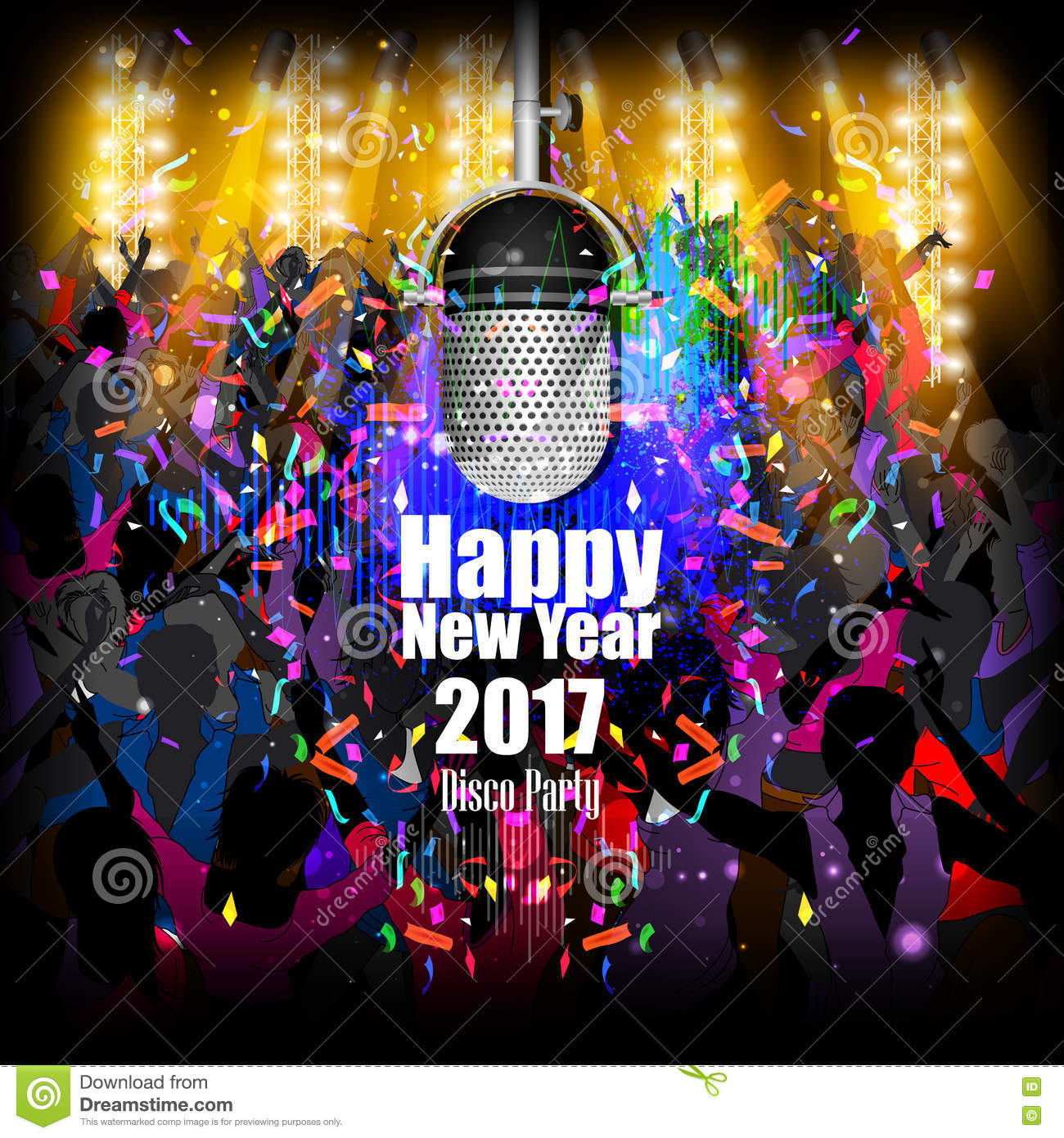 Happy New Year 2017 Party Celebration Poster Stock Vector ...
