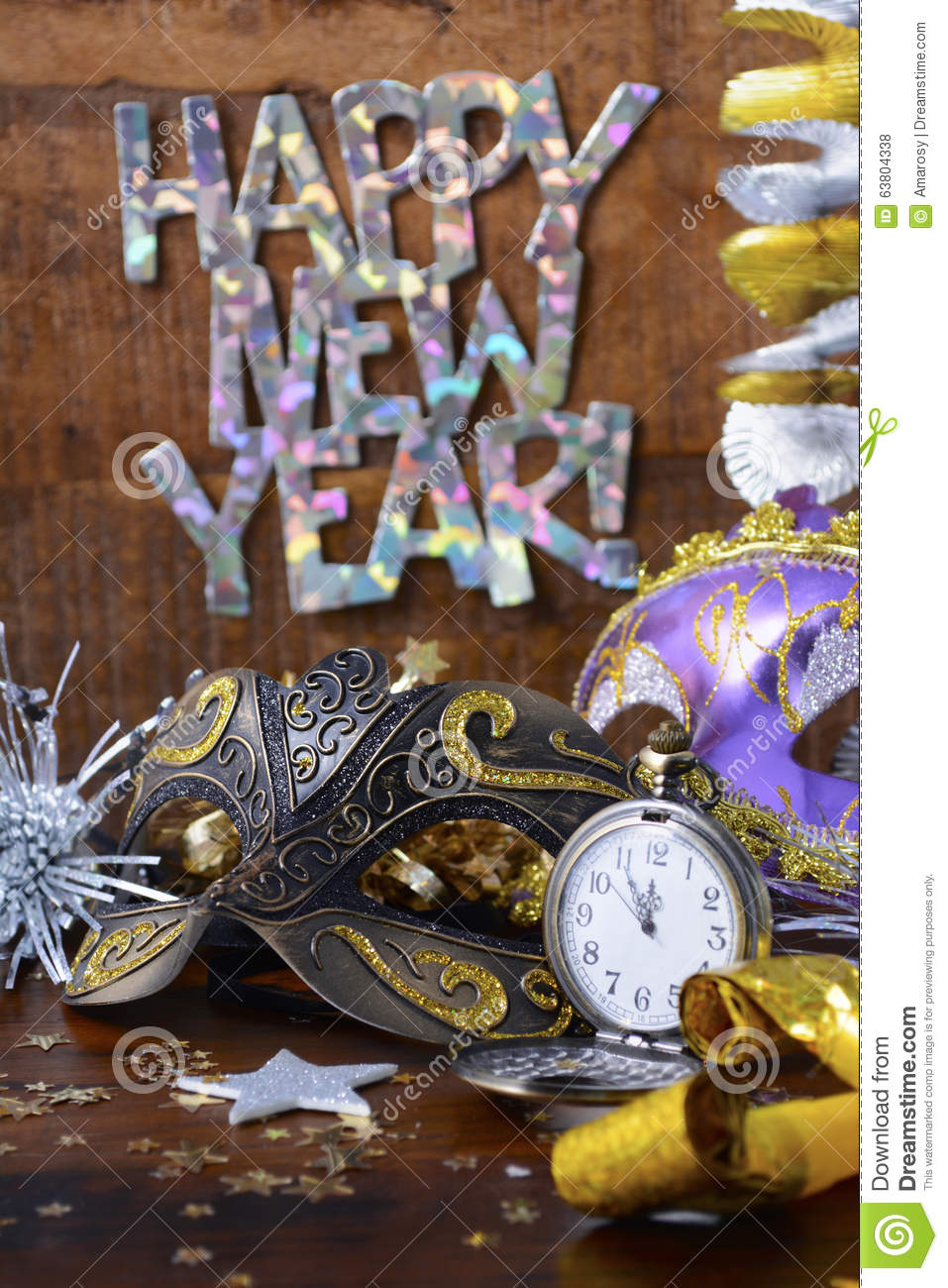 Happy new year party decorations stock photo image - New year decoration ideas ...