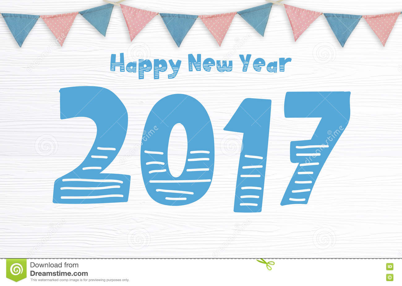 Happy New Year 2017 And Party Flags Hanging On White Wood Backgr