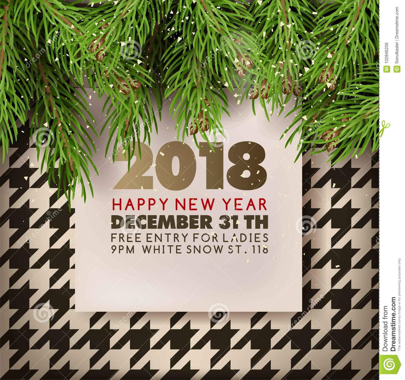 Christmas Tree Vector Free.Happy New Year Party Invitation Poster Of Christmas Tree